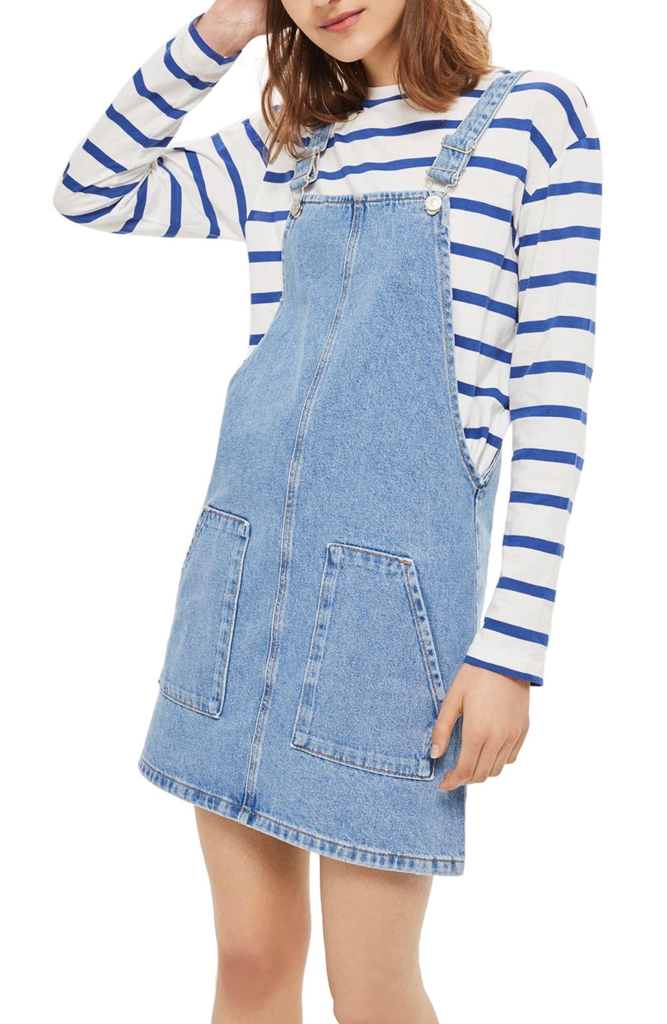 Denim Pinafore Dress,                         Main,                         color, 420