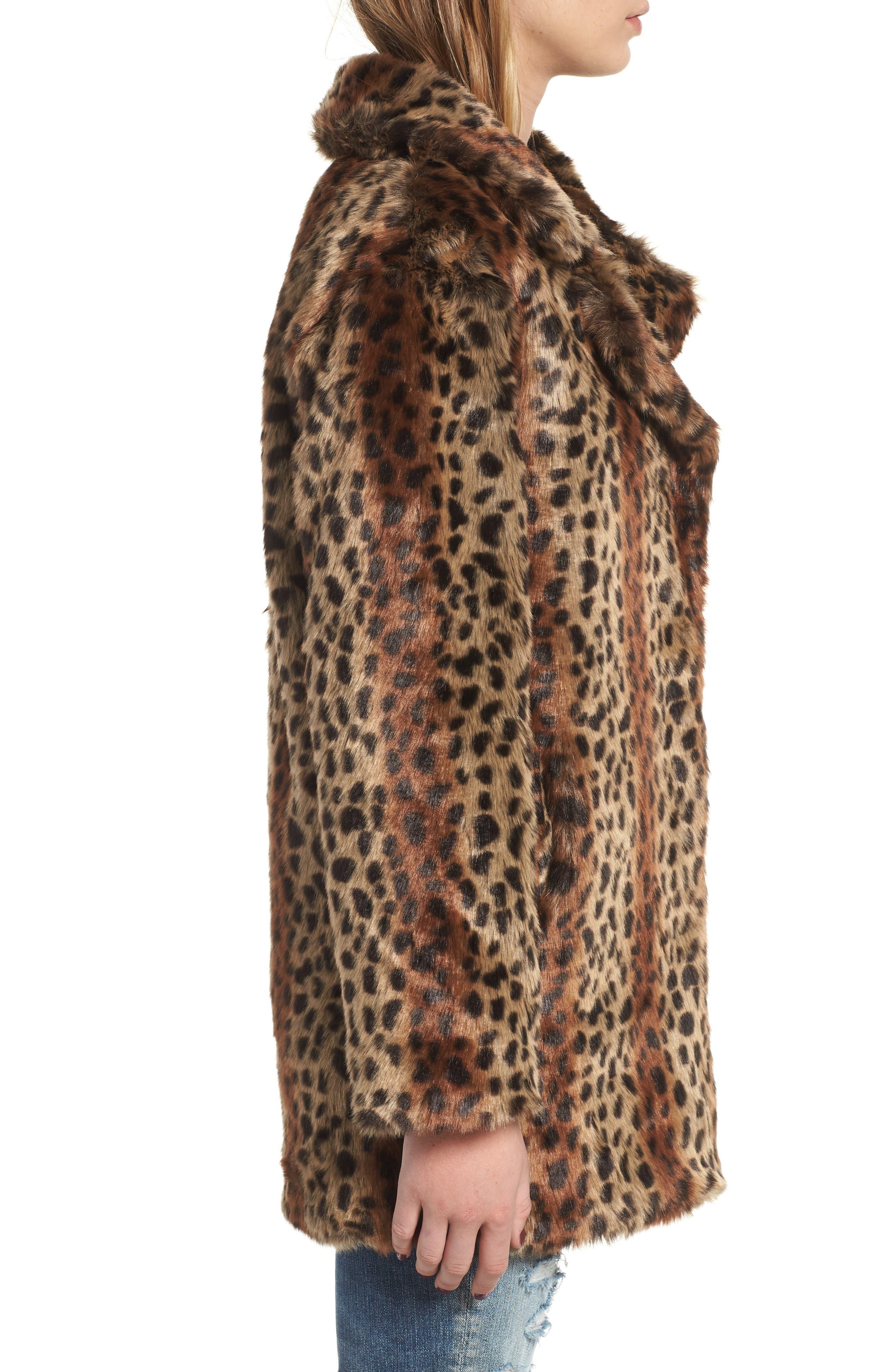 Mika Leopard Faux Fur Jacket,                             Alternate thumbnail 3, color,                             200
