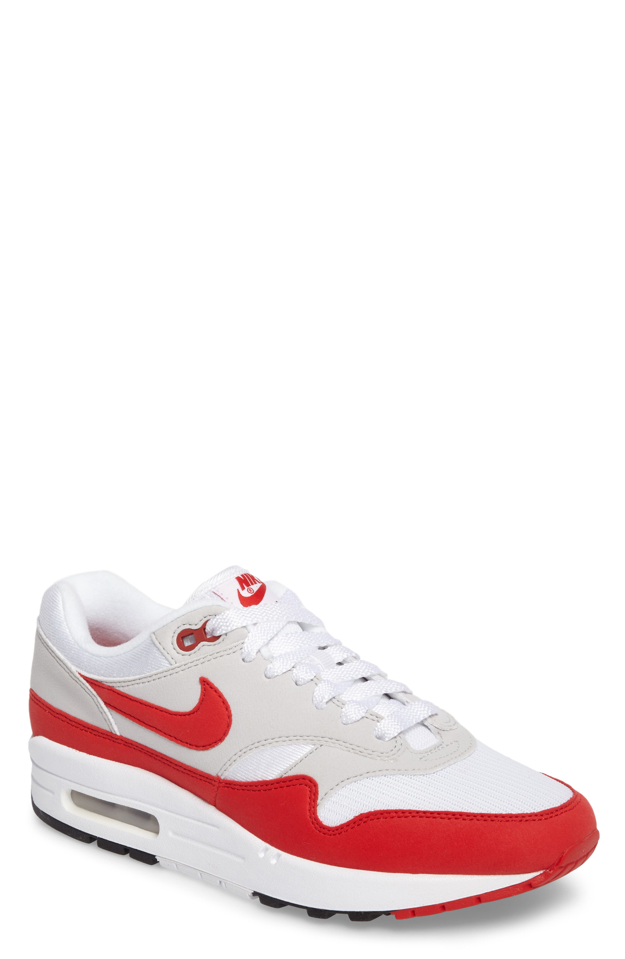 Air Max 1 Anniversary Sneaker,                             Main thumbnail 1, color,                             WHITE/ RED/ GREY/ BLACK