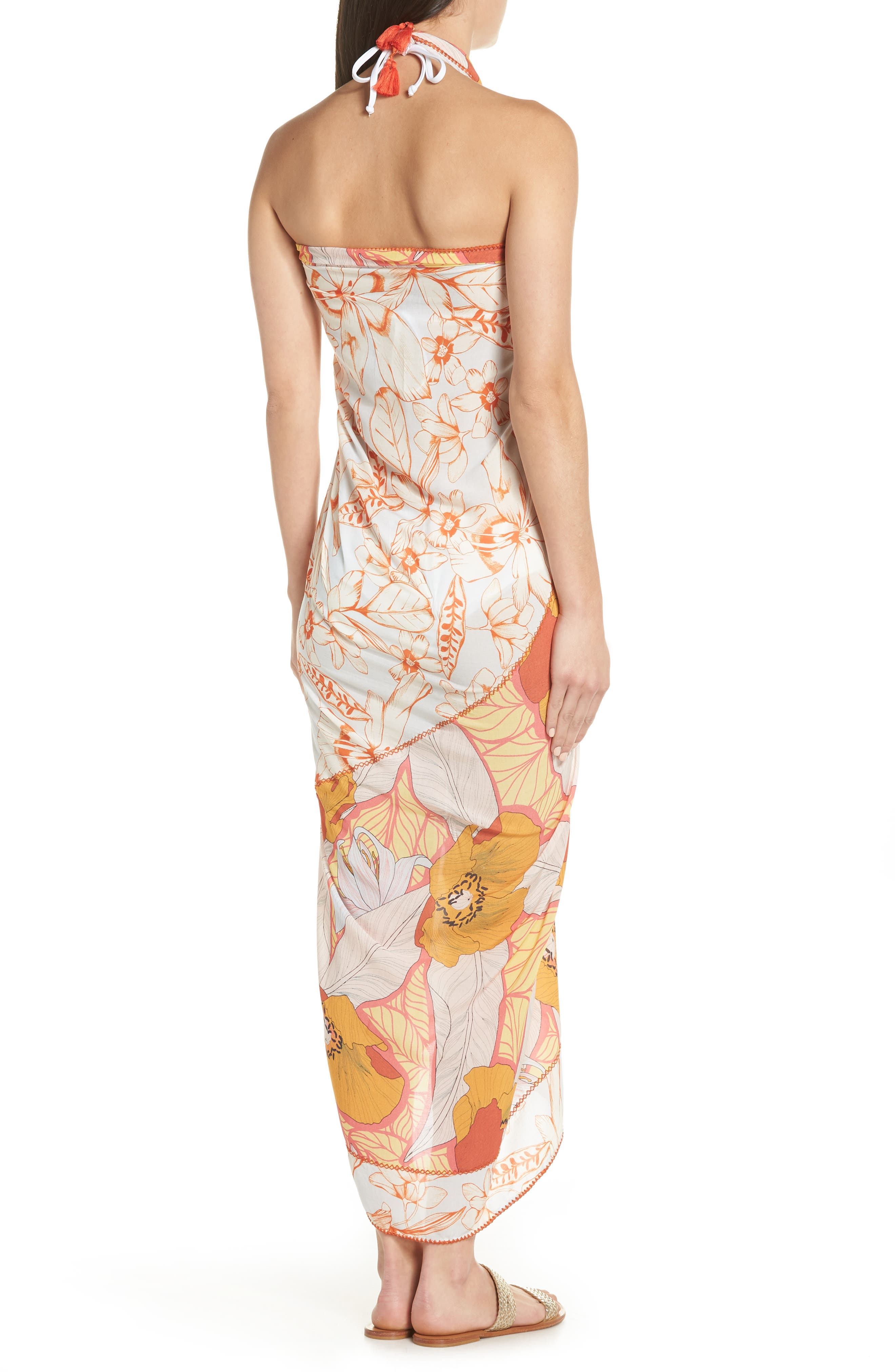 Mellow Yellow Leaf Pattern Pareo Cover-Up,                             Alternate thumbnail 5, color,                             700