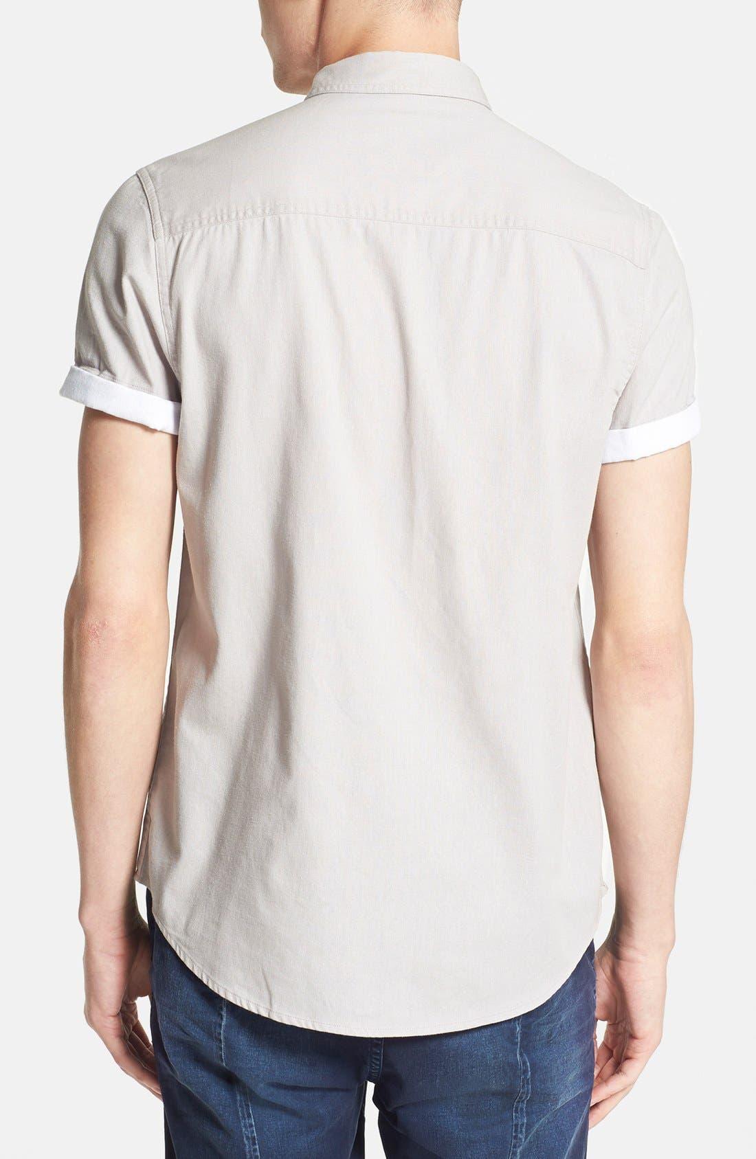 TOPMAN,                             Contrast Trim Short Sleeve Cotton Shirt,                             Alternate thumbnail 2, color,                             020