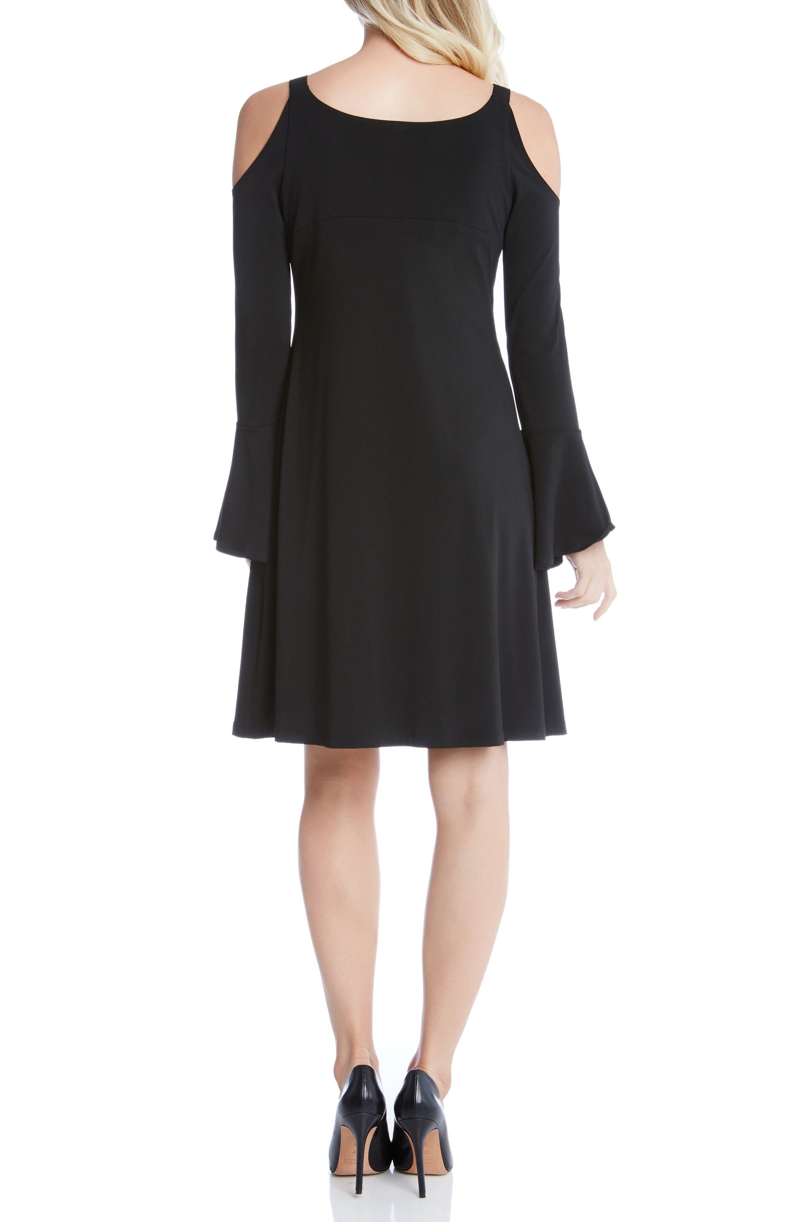 Cold Shoulder Bell Sleeve Dress,                             Alternate thumbnail 2, color,                             001