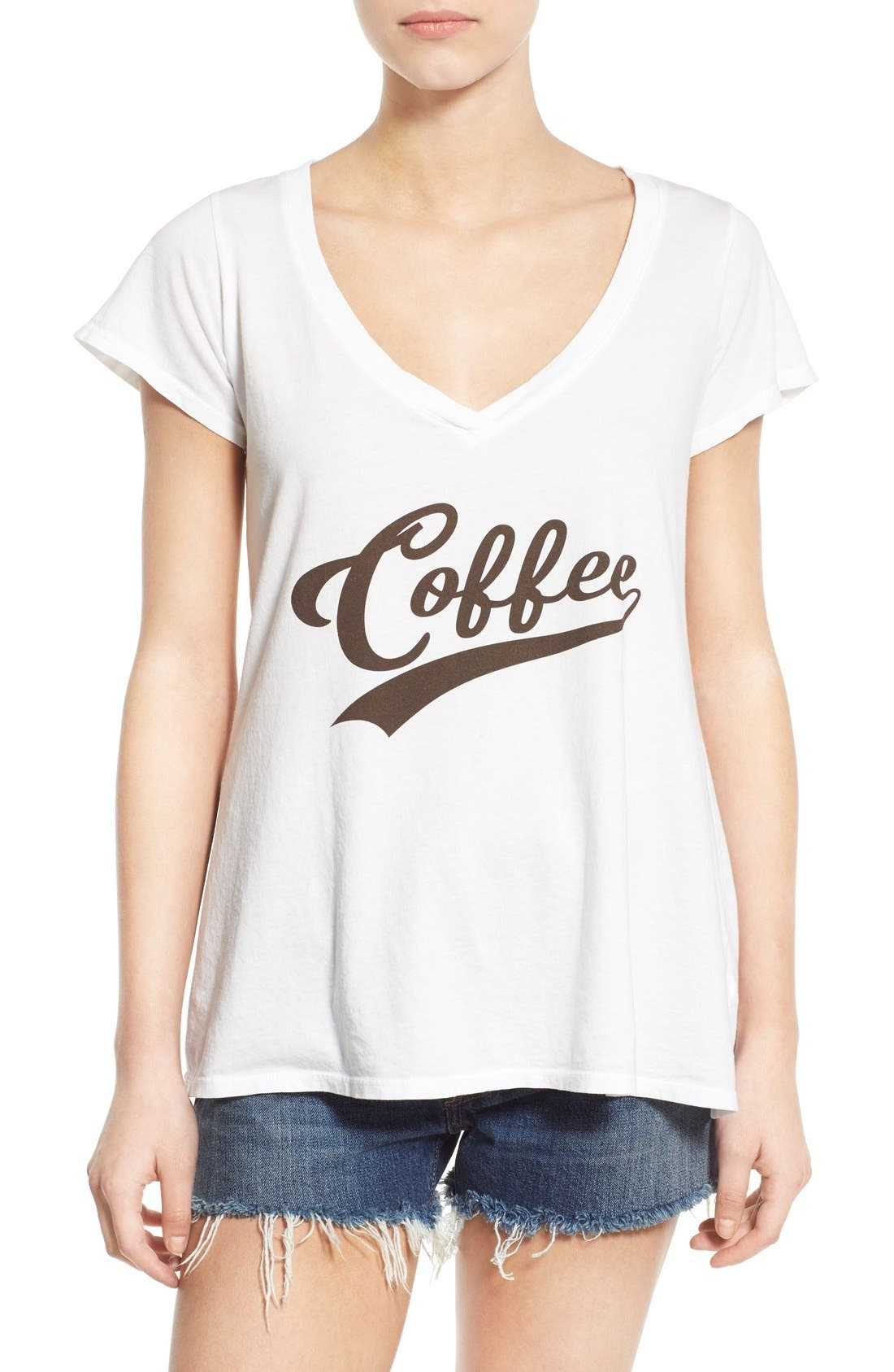 'Coffee' Graphic V-Neck T-Shirt,                             Main thumbnail 1, color,                             100