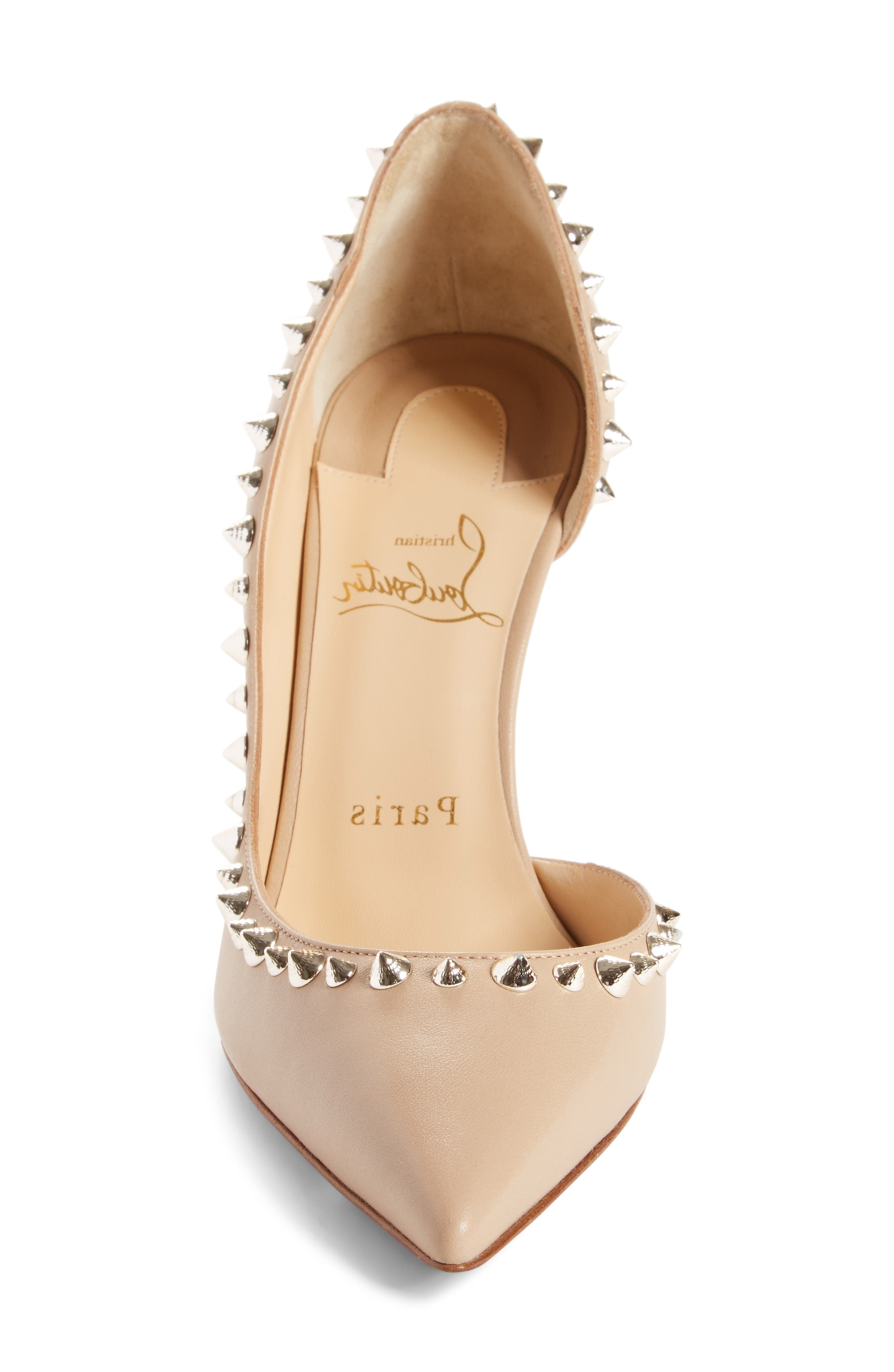 Irishell Studded Half d'Orsay Pump,                             Alternate thumbnail 4, color,                             NUDE/ WHITE GOLD