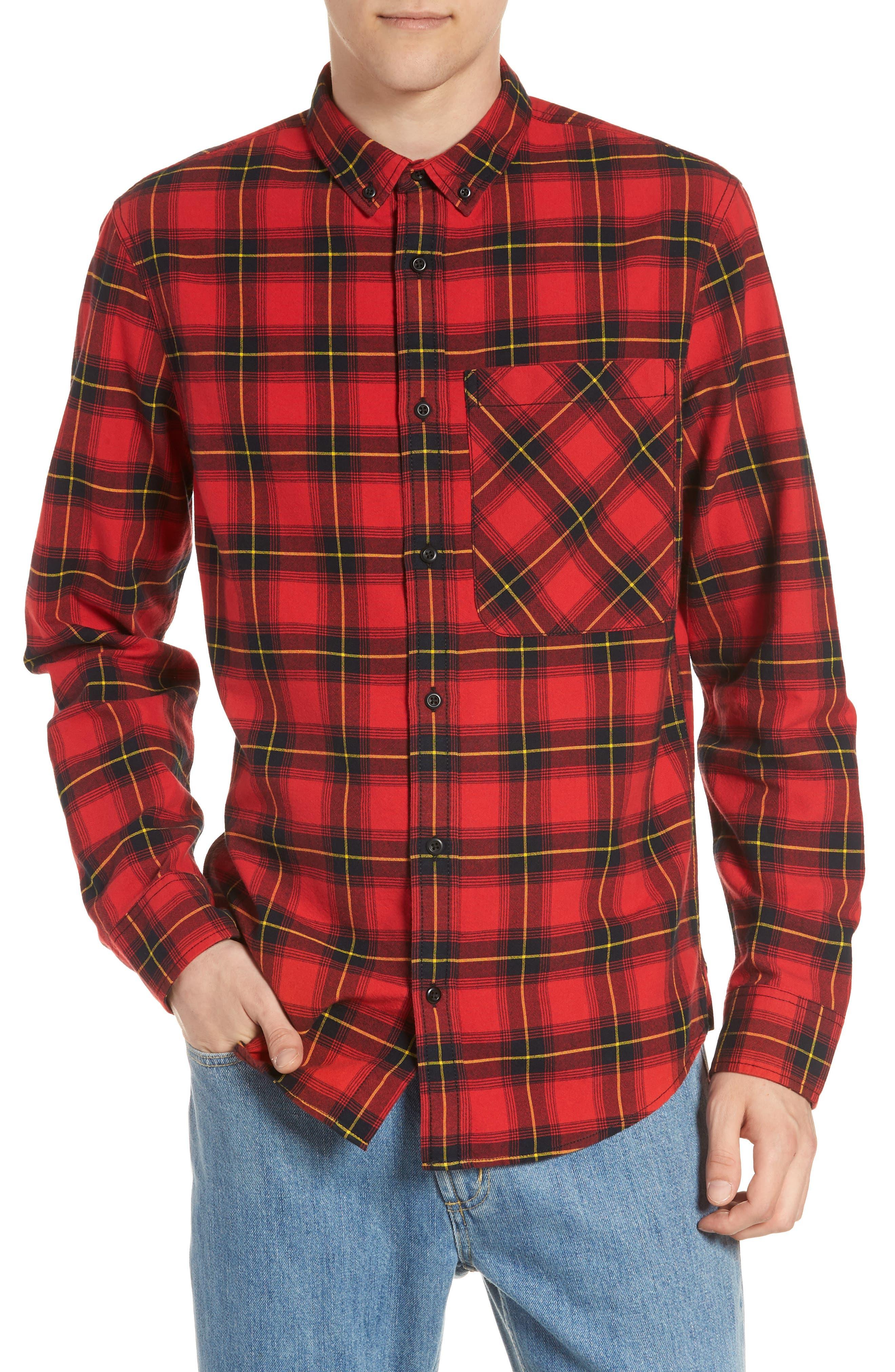 The Rail Plaid Oversize Pocket Sport Shirt, Red