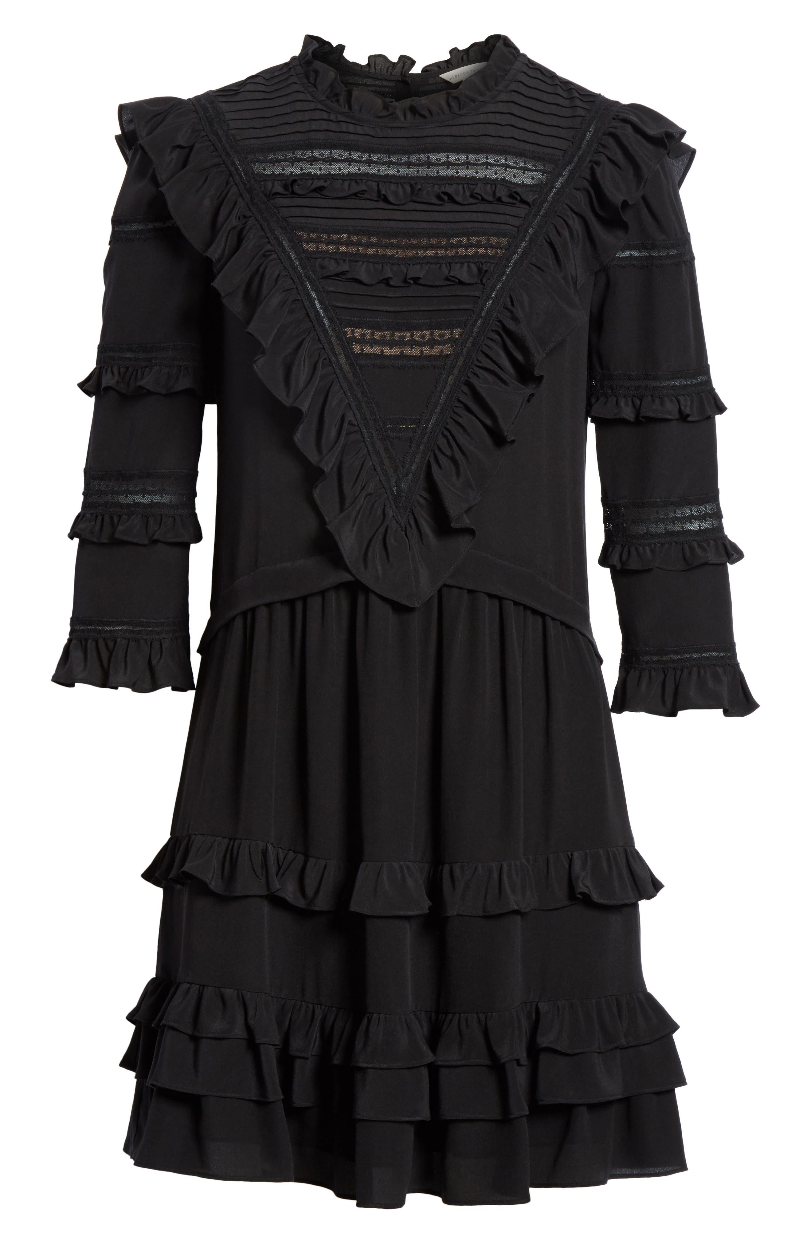 Ruffle Silk Dress,                             Alternate thumbnail 6, color,                             001