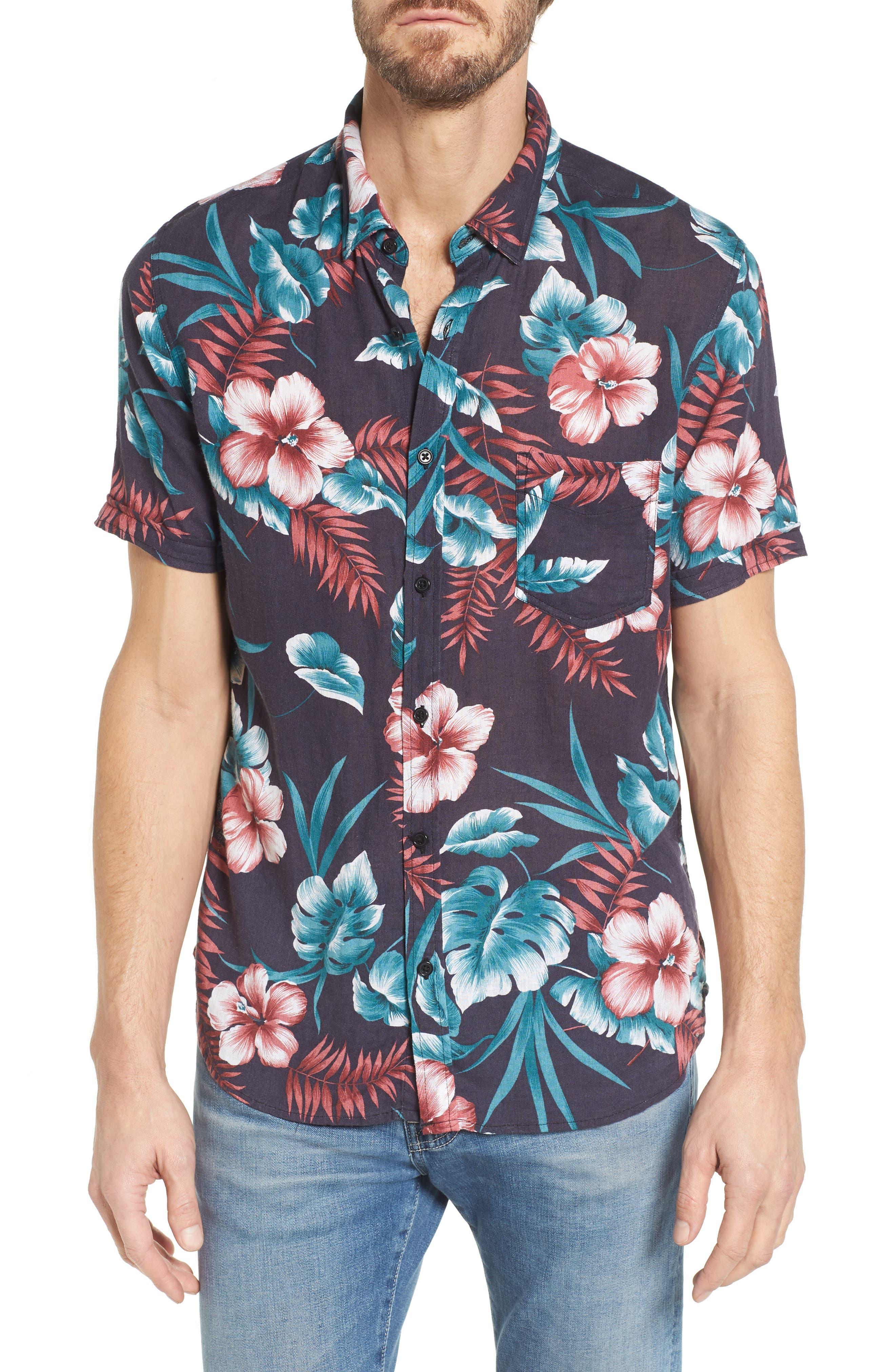 Carson Slim Fit Tropical Print Sport Shirt,                         Main,                         color, 001