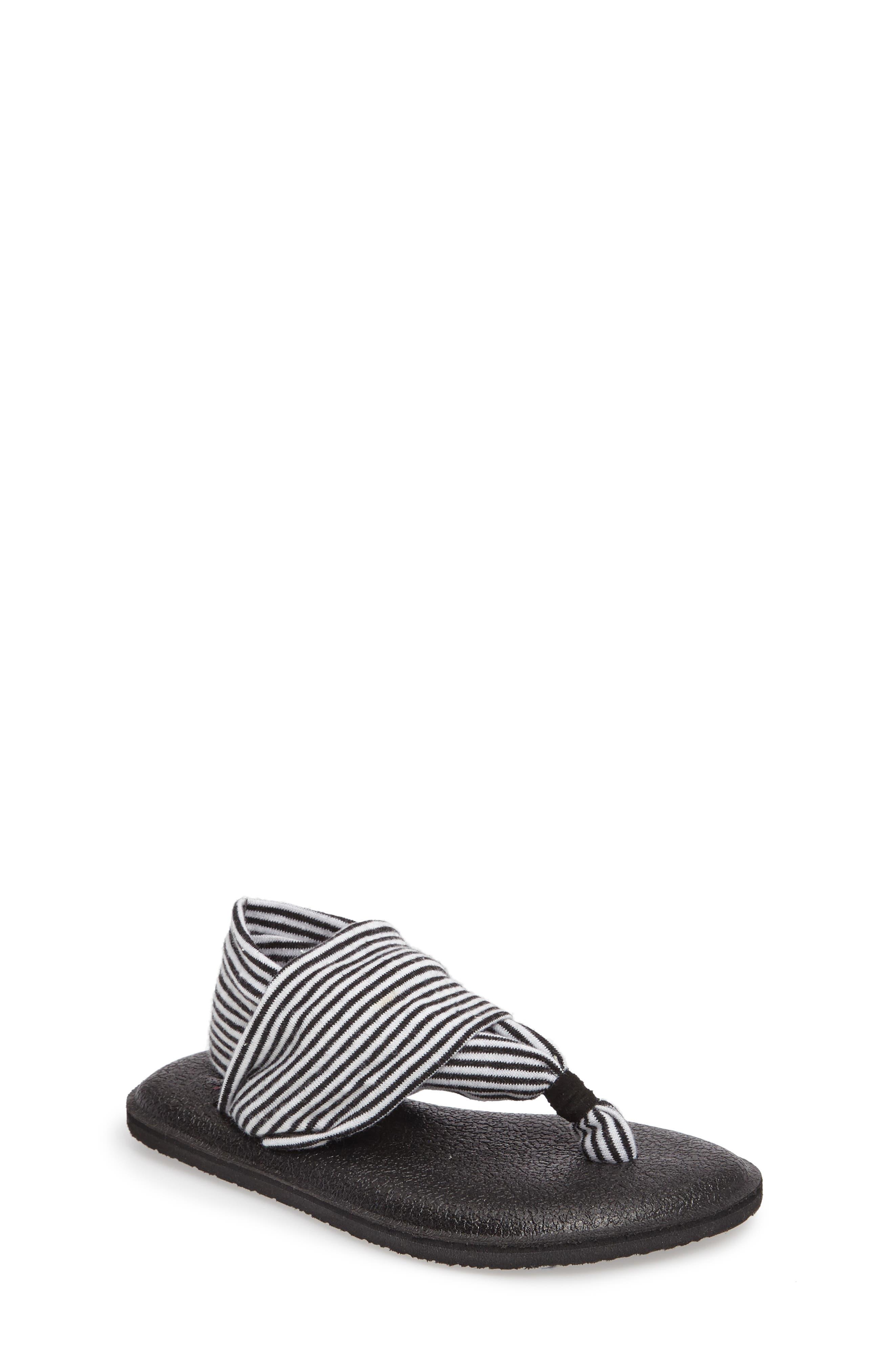 'Yoga Sling' Sandal,                             Main thumbnail 1, color,                             BLACK/ WHITE STRIPE