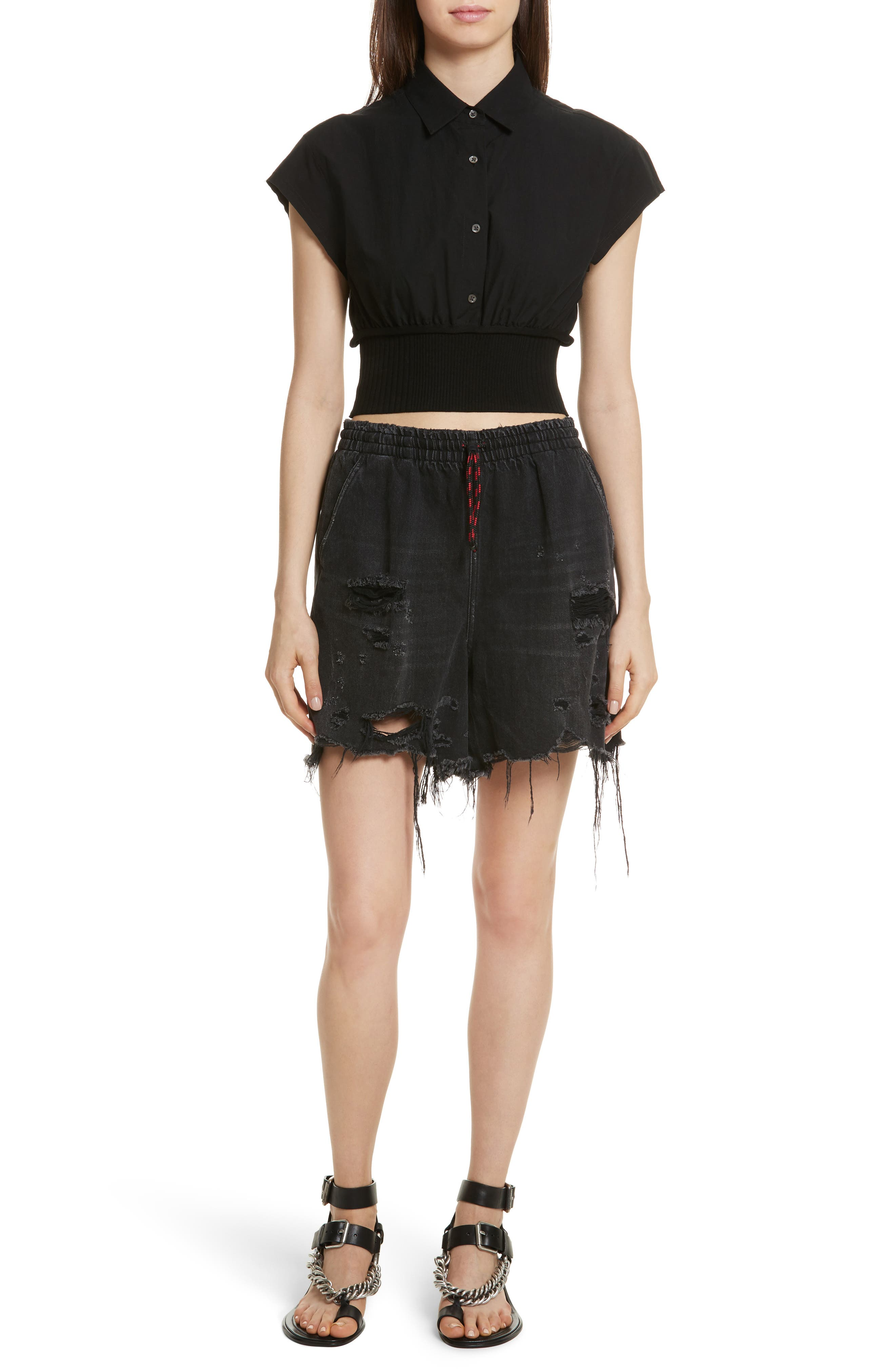 T by Alexander Wang Washed Cotton Poplin Crop Top,                             Alternate thumbnail 7, color,                             001