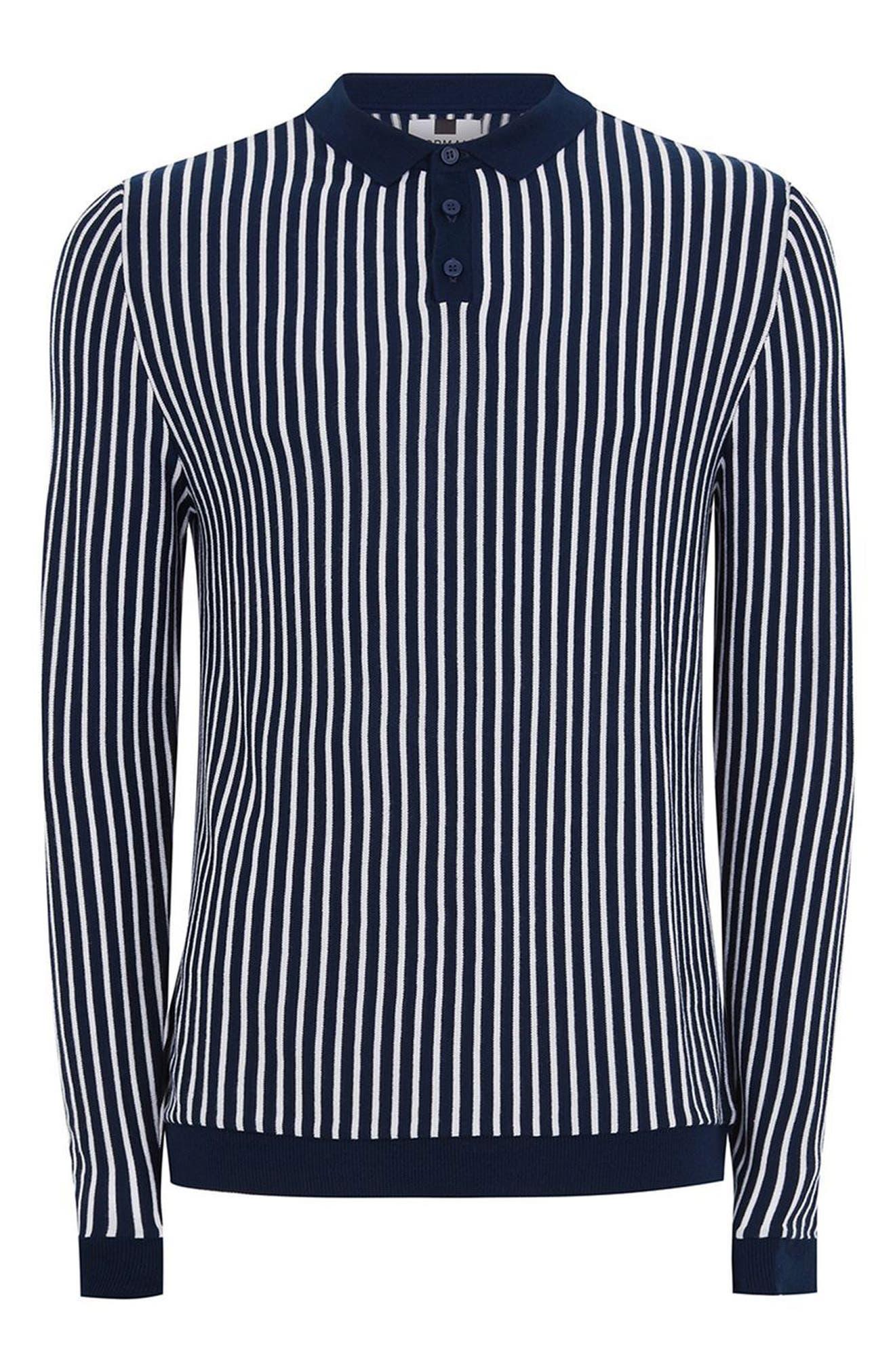Stripe Knit Polo Sweater,                             Alternate thumbnail 4, color,                             410