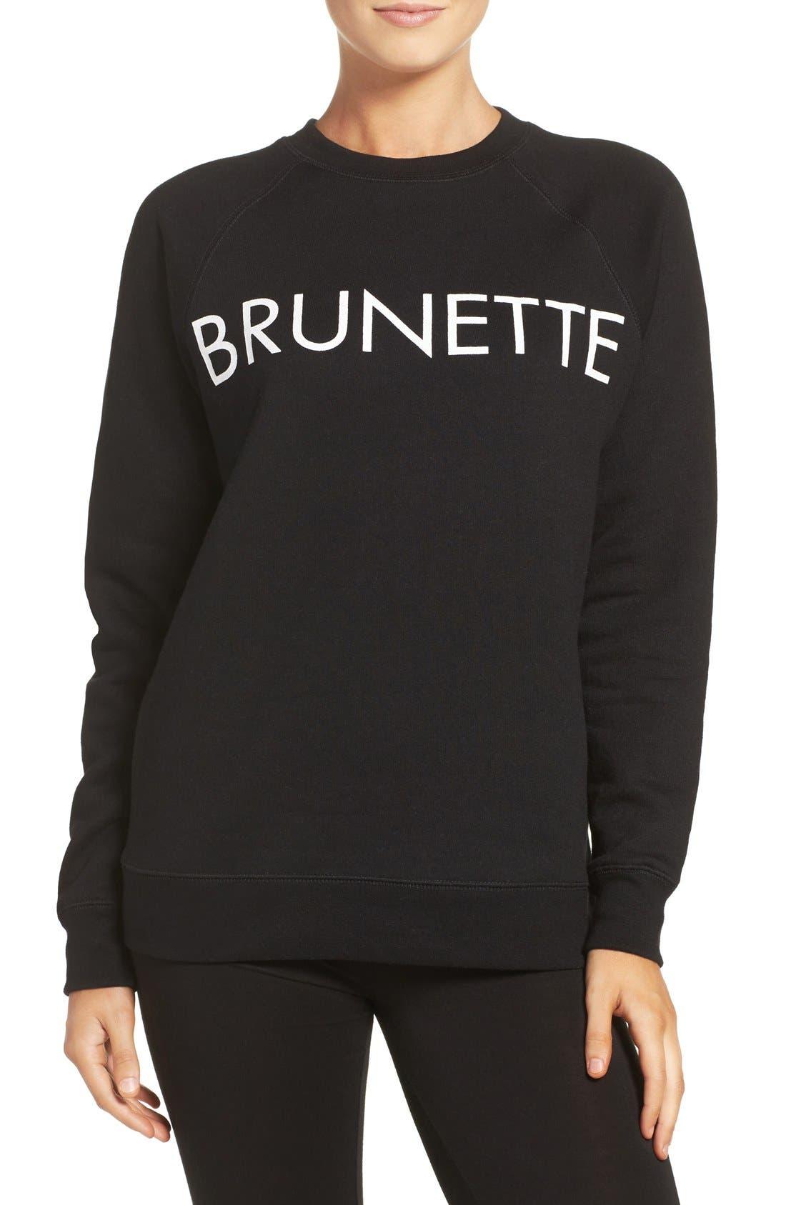 Brunette Crewneck Sweatshirt,                             Main thumbnail 1, color,                             001