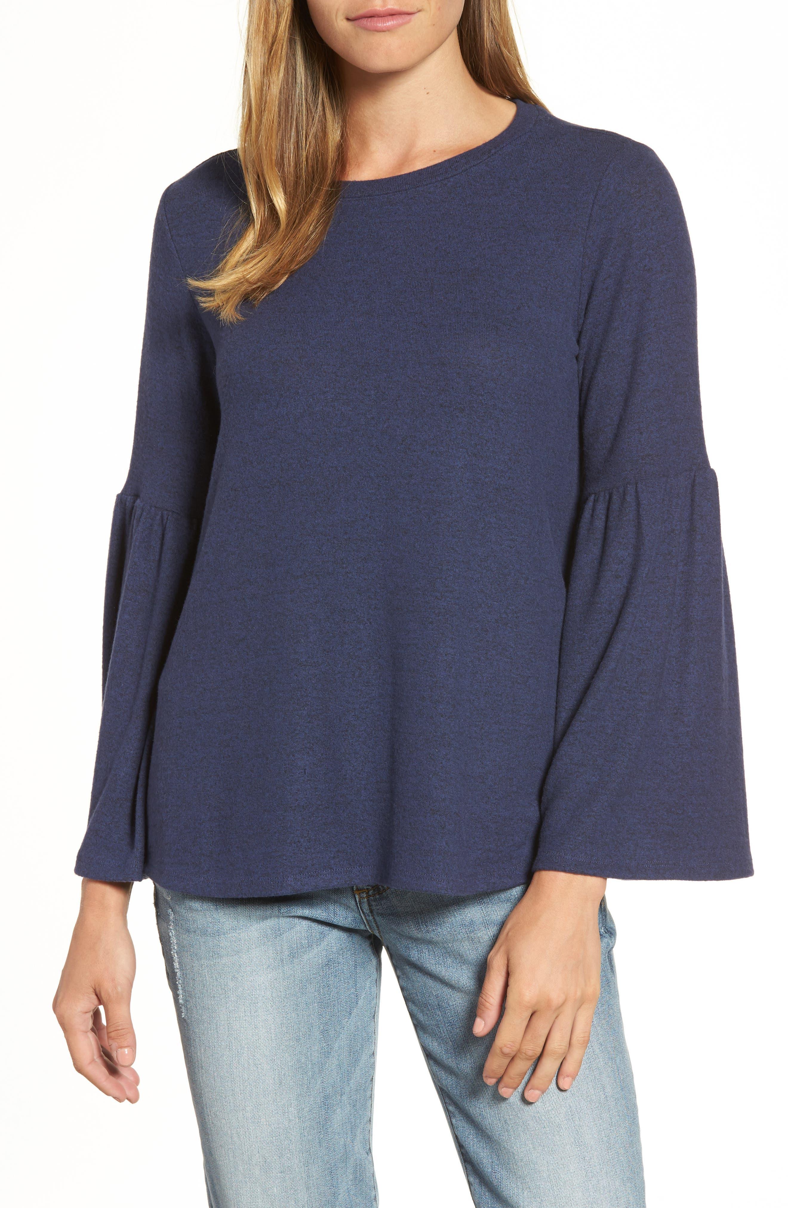GIBSON Bell Sleeve Cozy Fleece Pullover, Main, color, 415