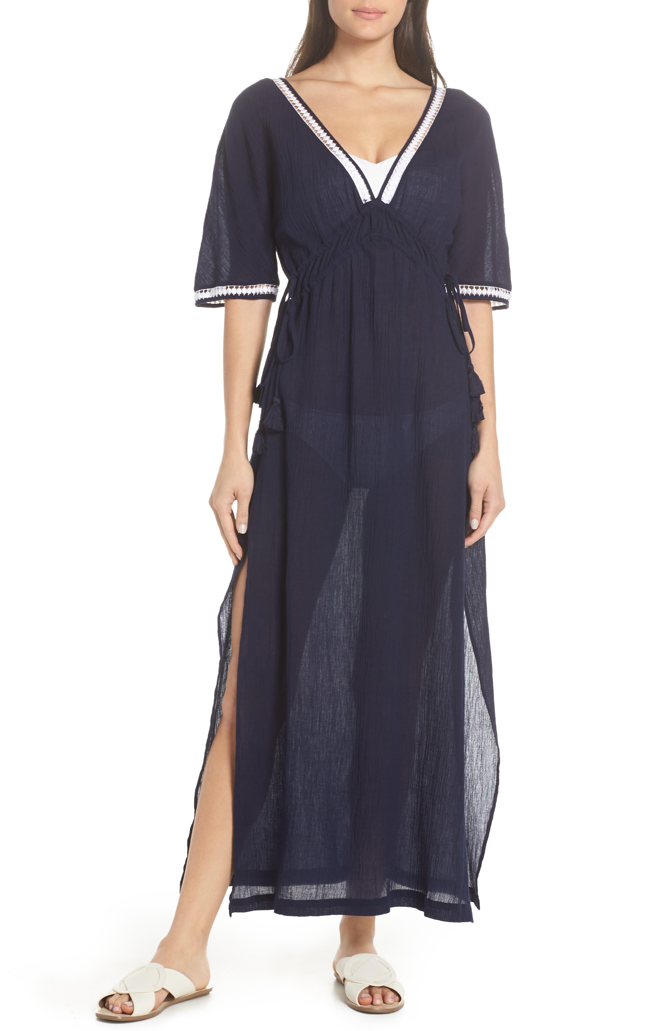 HEIDI KLEIN Carlisle Bay Lace-Trim Coverup Maxi Dress in Navy