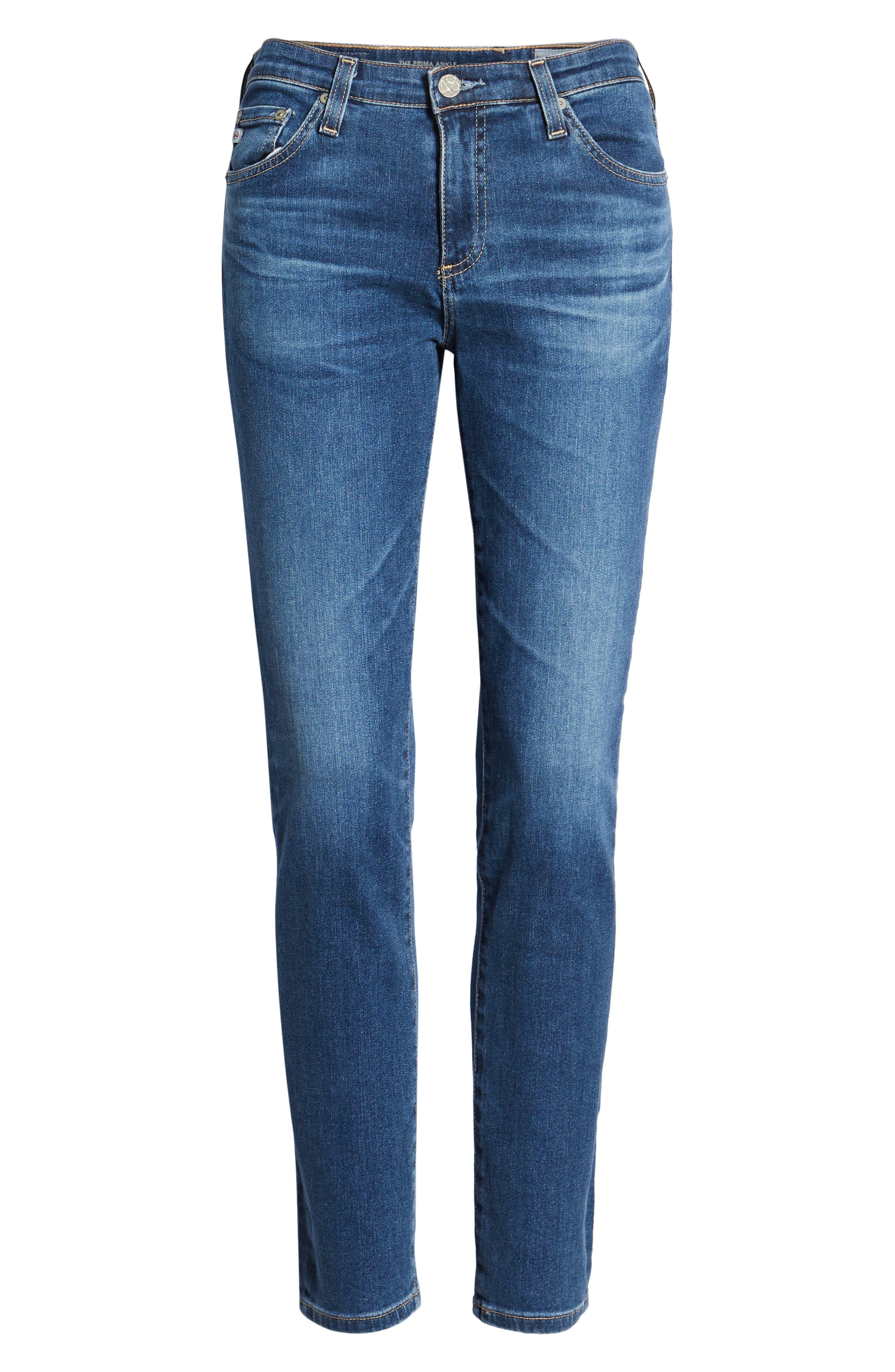 Prima Ankle Cigarette Jeans,                             Alternate thumbnail 7, color,                             8 YEARS BLUE PORTRAIT