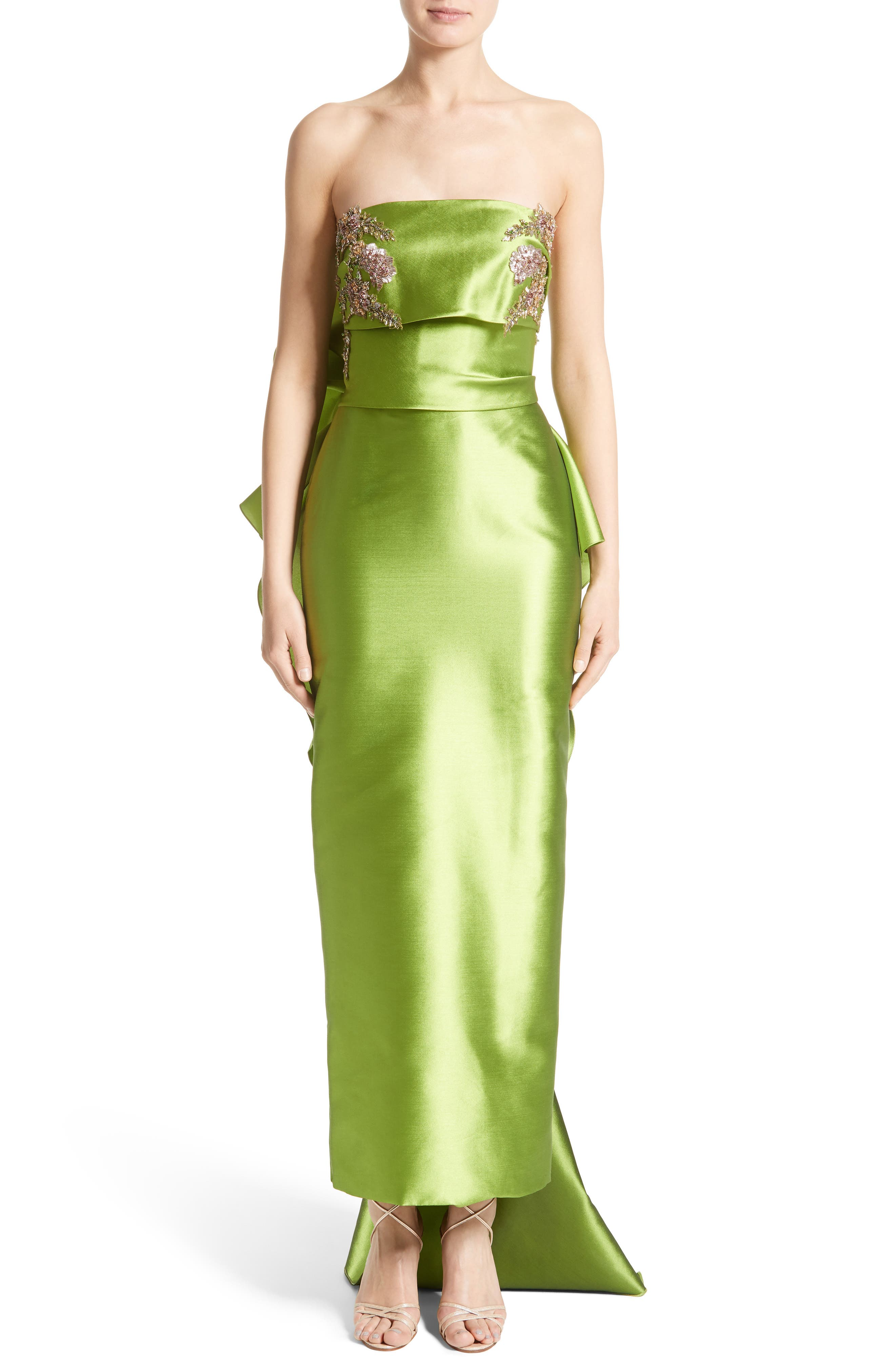 Embellished Mikado Strapless Column Gown,                             Main thumbnail 1, color,                             319