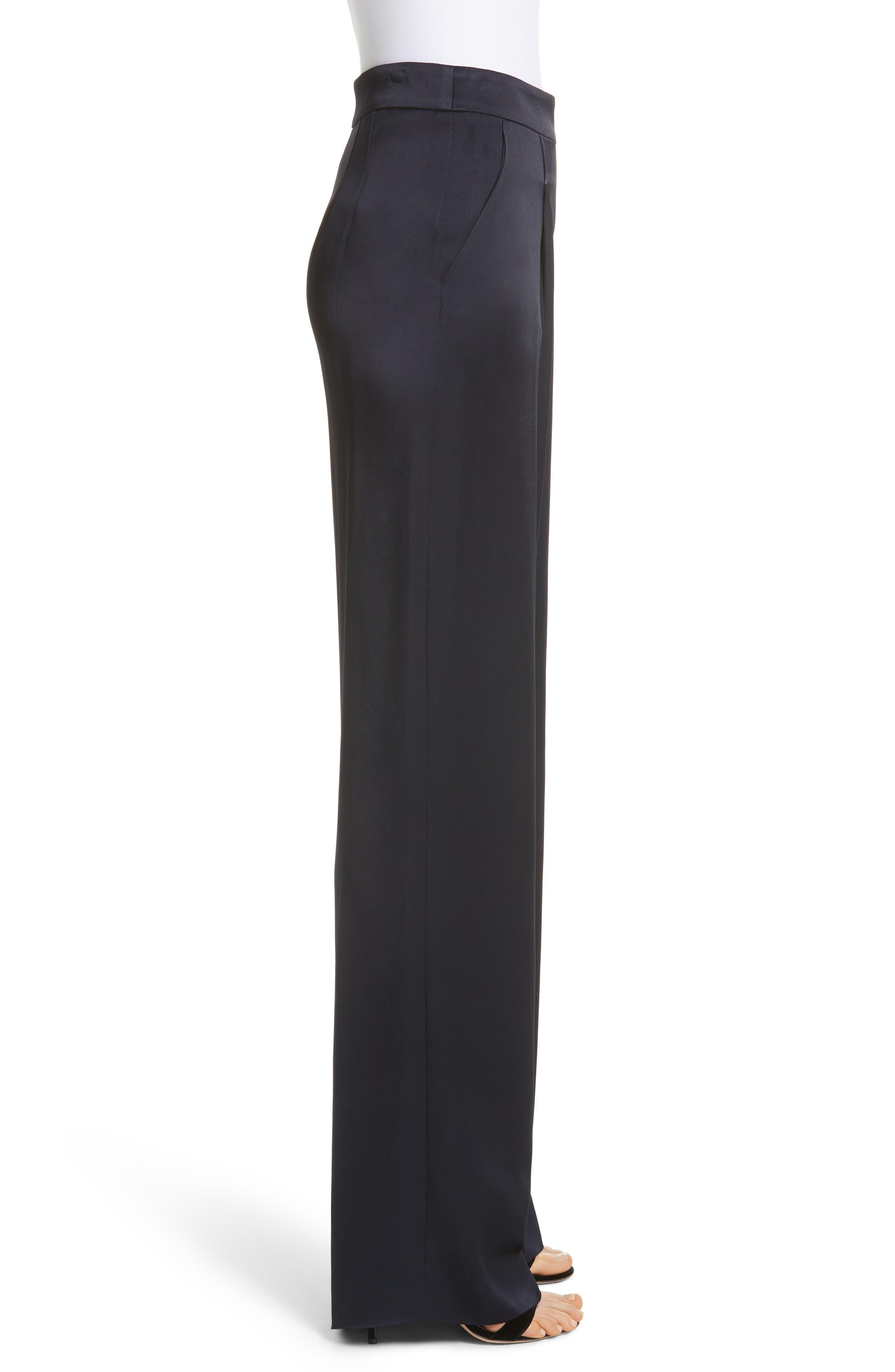 Wide Leg Liquid Crepe Pants,                             Alternate thumbnail 3, color,                             NAVY