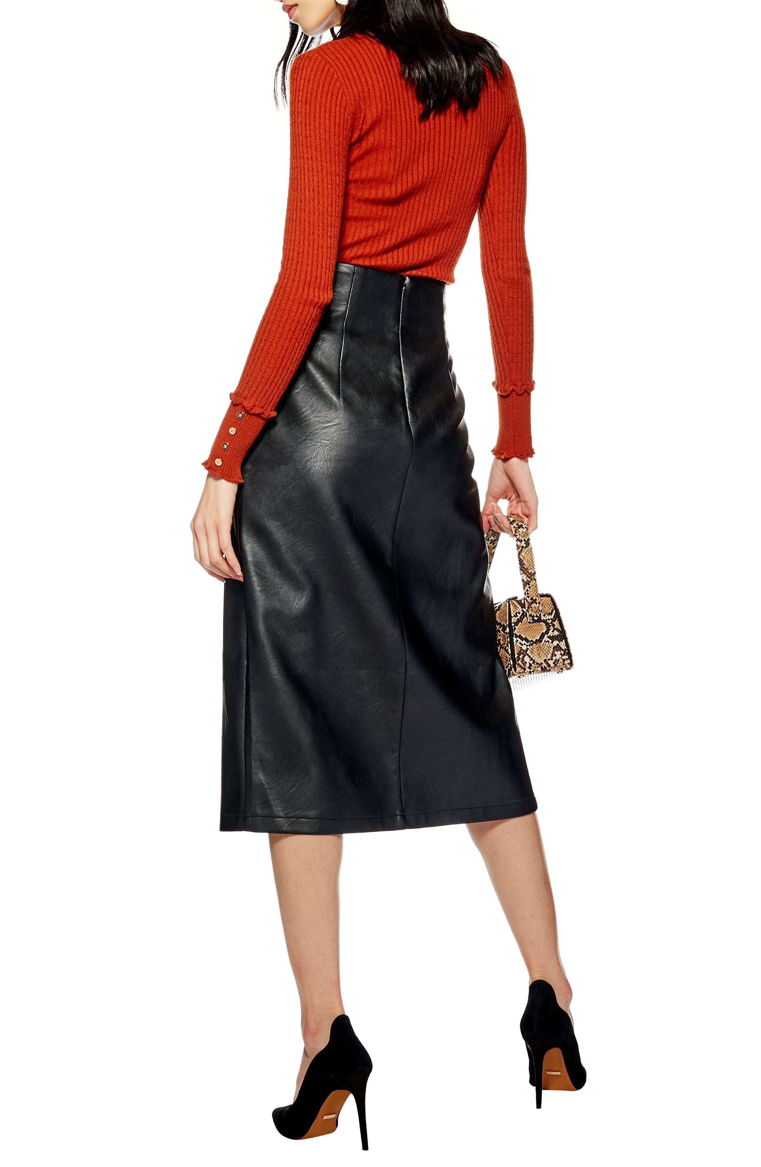 Faux Leather Pencil Skirt,                             Alternate thumbnail 2, color,                             BLACK