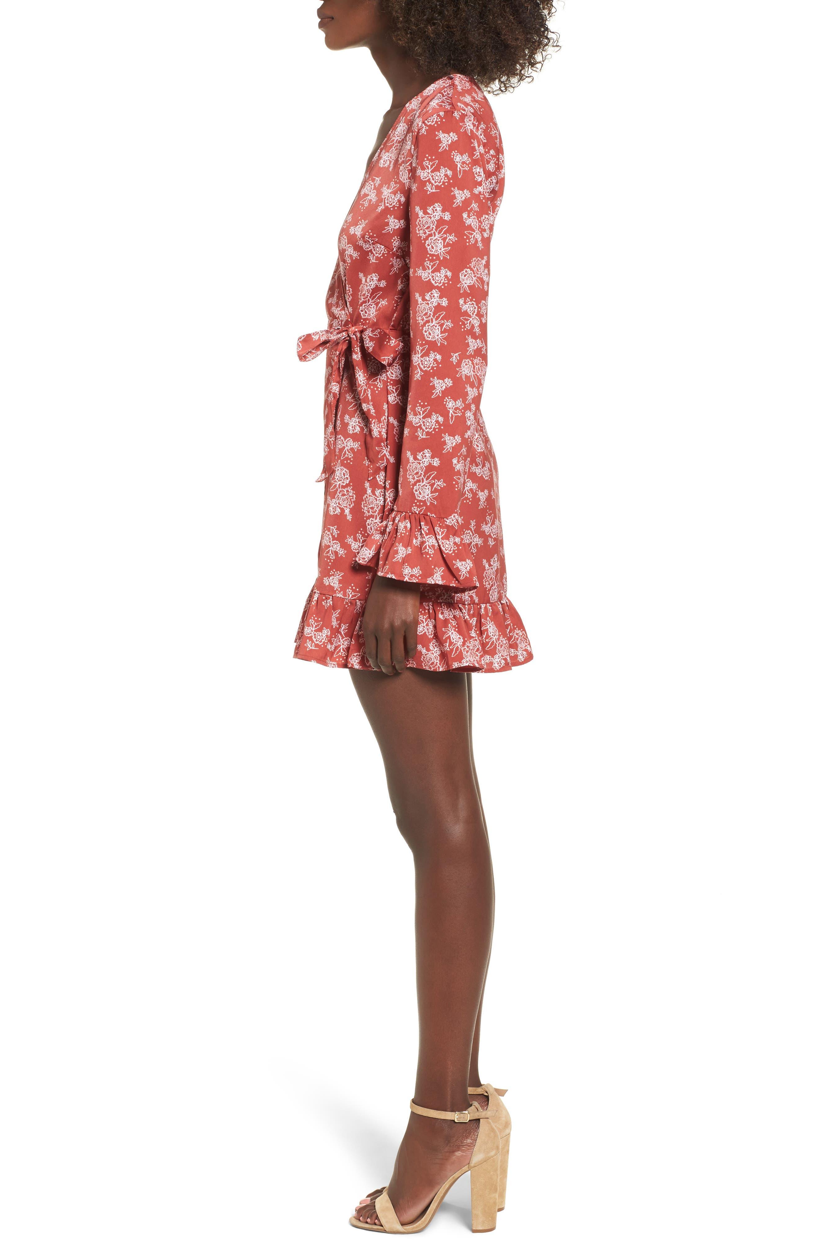 Ophelia Floral Print Wrap Dress,                             Alternate thumbnail 3, color,                             600