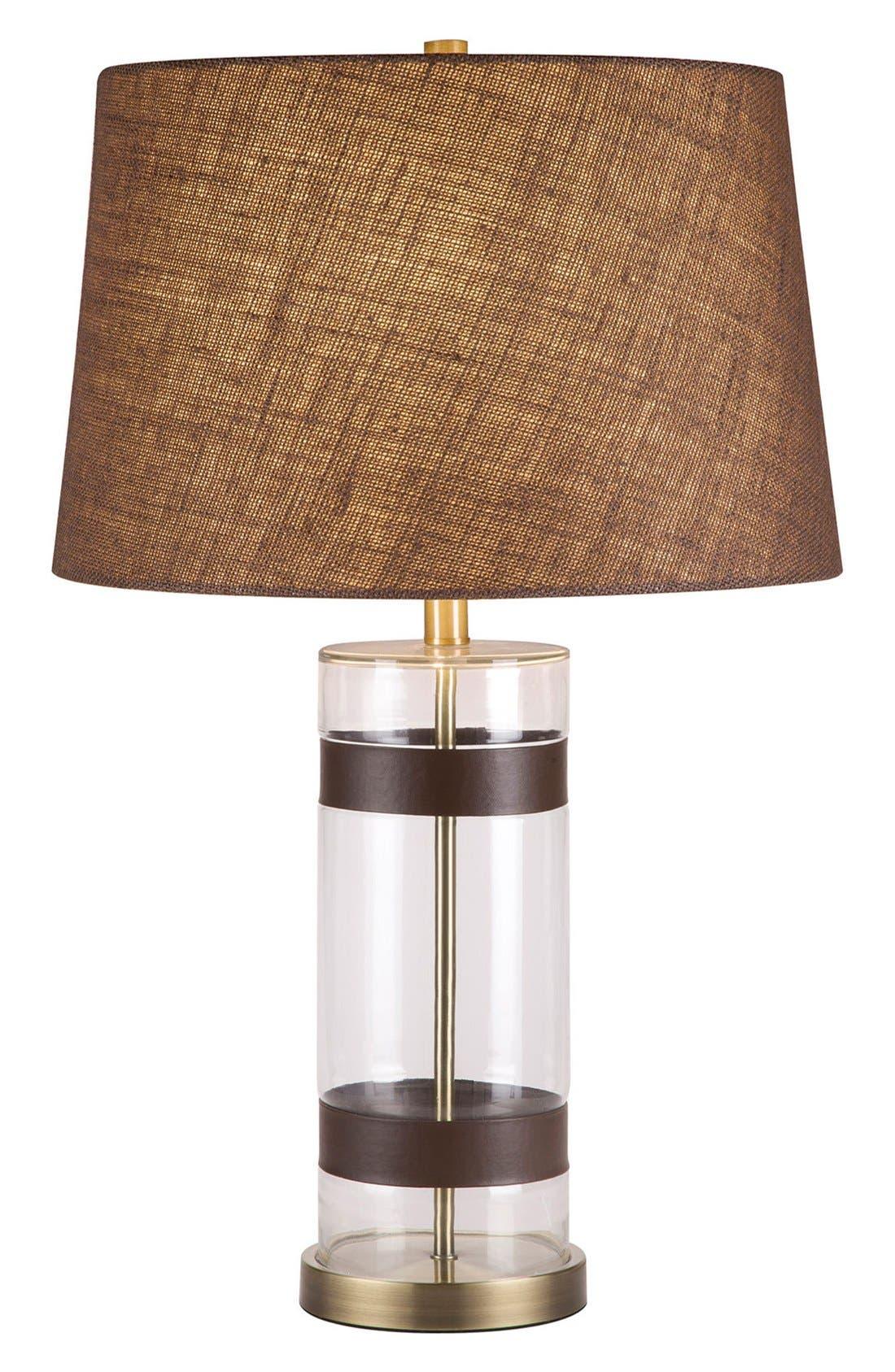 JAlexander Glass & Faux Leather Table Lamp,                             Main thumbnail 1, color,                             100