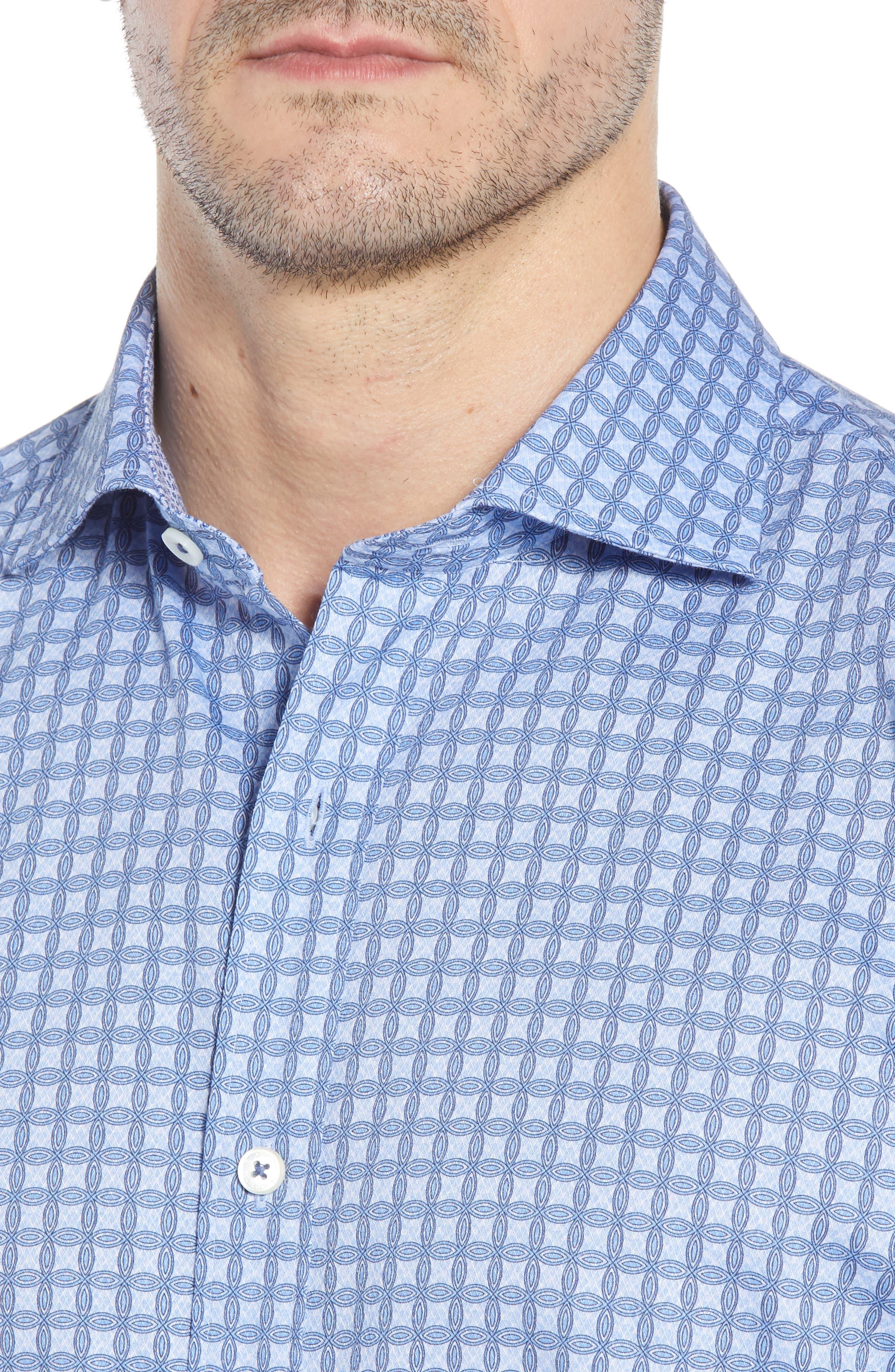 Shaped Fit Print Sport Shirt,                             Alternate thumbnail 4, color,                             459