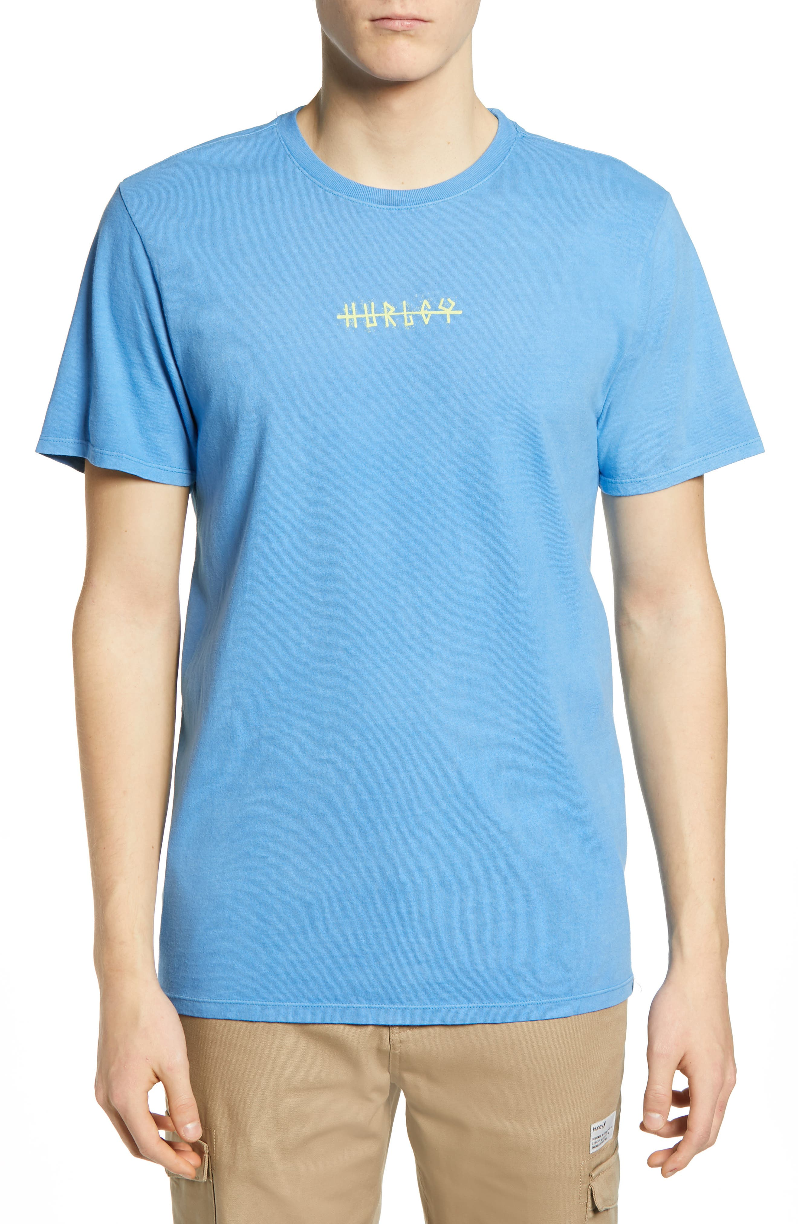 Hurley Mens T Shirts Stylish Comfort Clothing Shirt Heavy Welcome To Paradise Blue