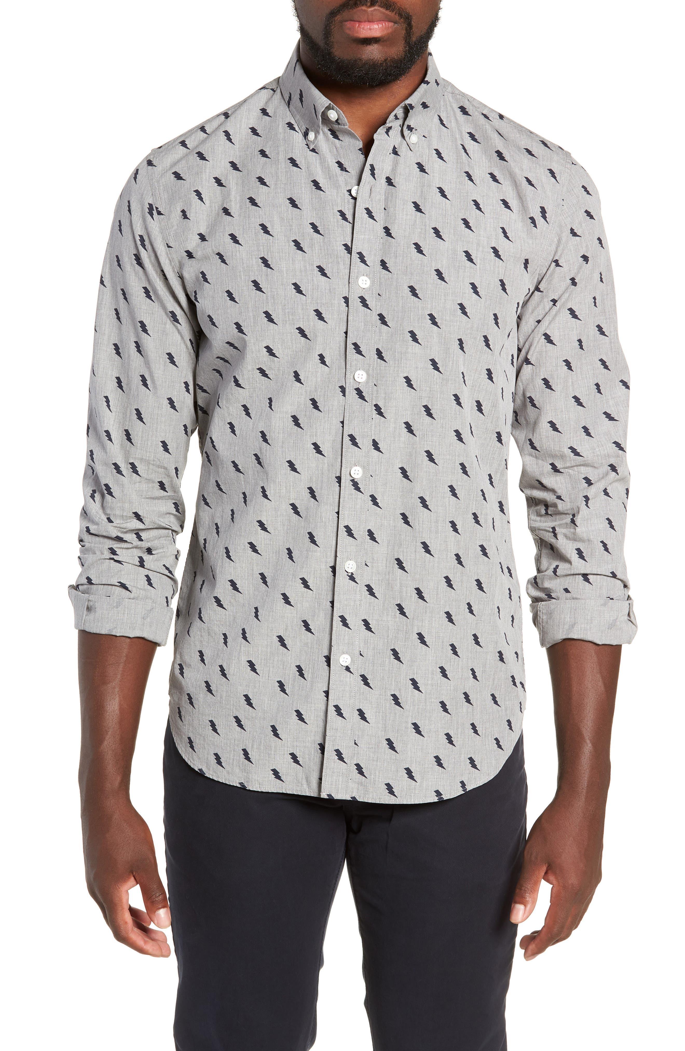 Washed Button Down Slim Fit Lightning Print Sport Shirt,                         Main,                         color, ZAP - MEDIUM GREY HEATHER