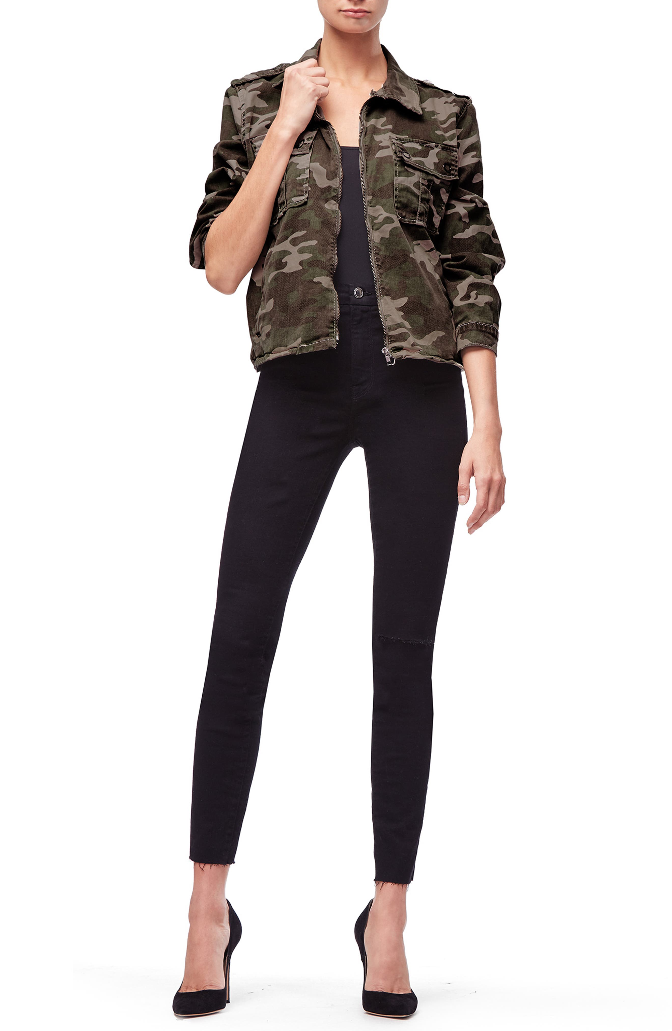 Camo Print Military Jacket,                             Alternate thumbnail 6, color,                             301