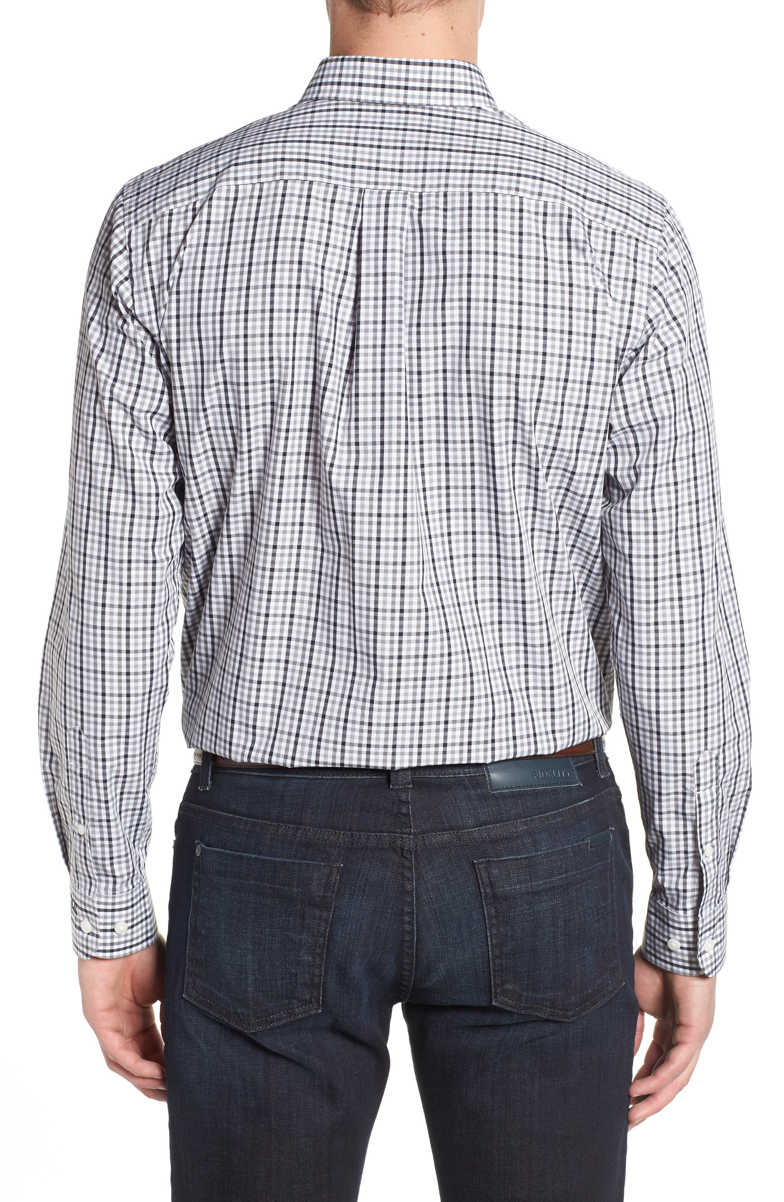 Carolina Panthers - Gilman Regular Fit Plaid Sport Shirt,                             Alternate thumbnail 2, color,                             BLACK