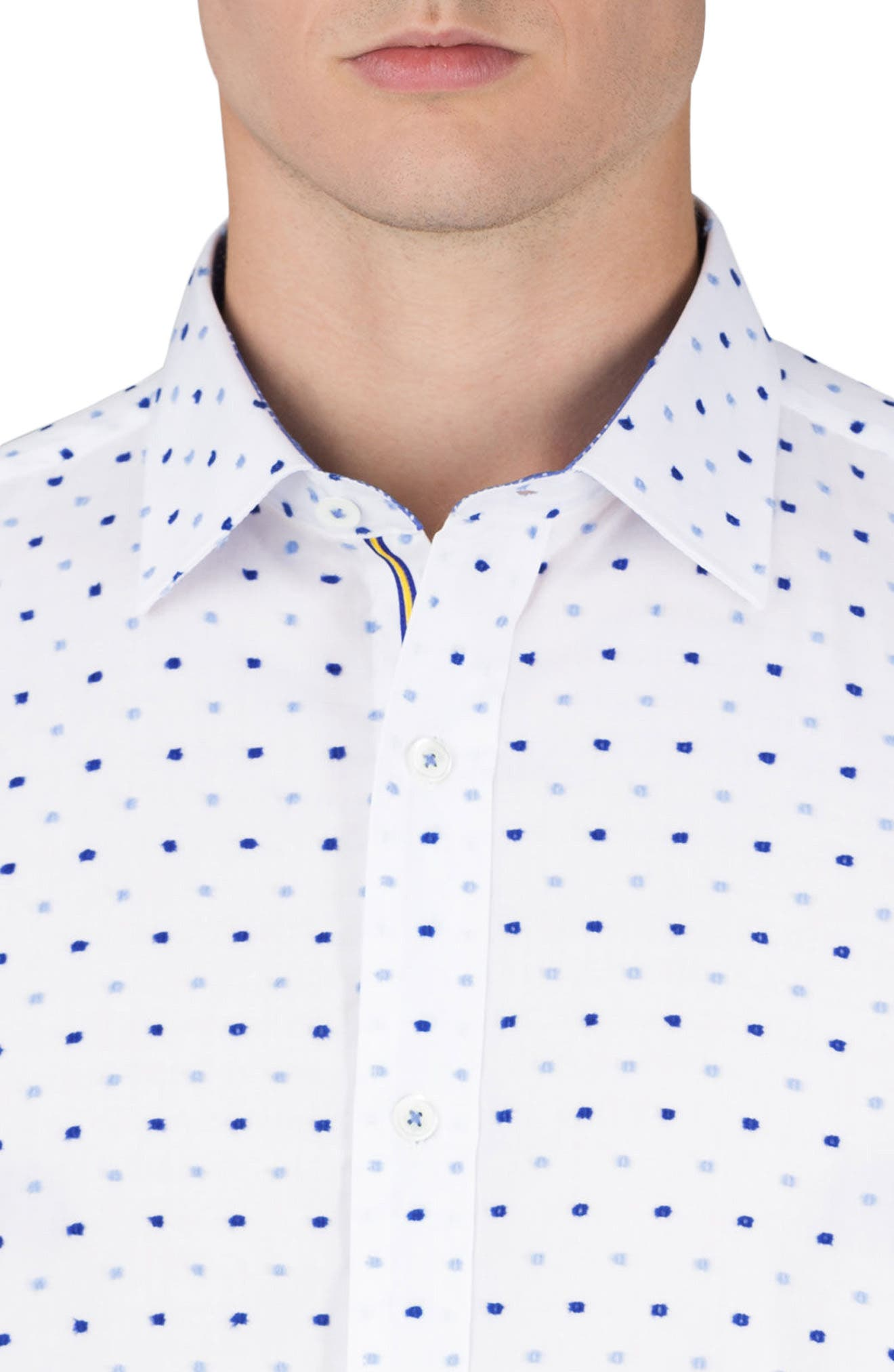 Classic Fit Embroidered Dot Sport Shirt,                             Alternate thumbnail 3, color,                             100