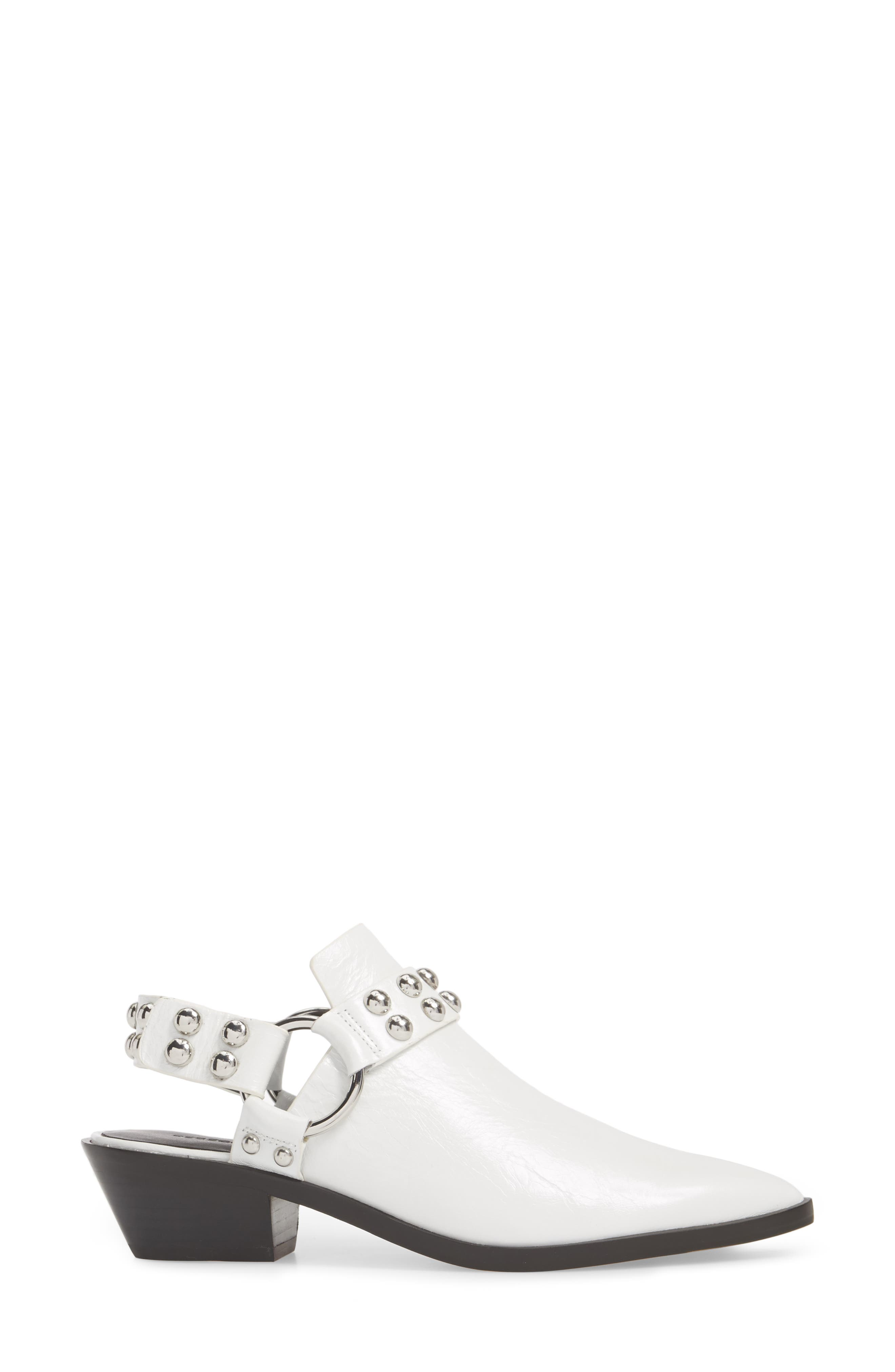 Korlyn Studded Bootie,                             Alternate thumbnail 3, color,                             WHITE LEATHER