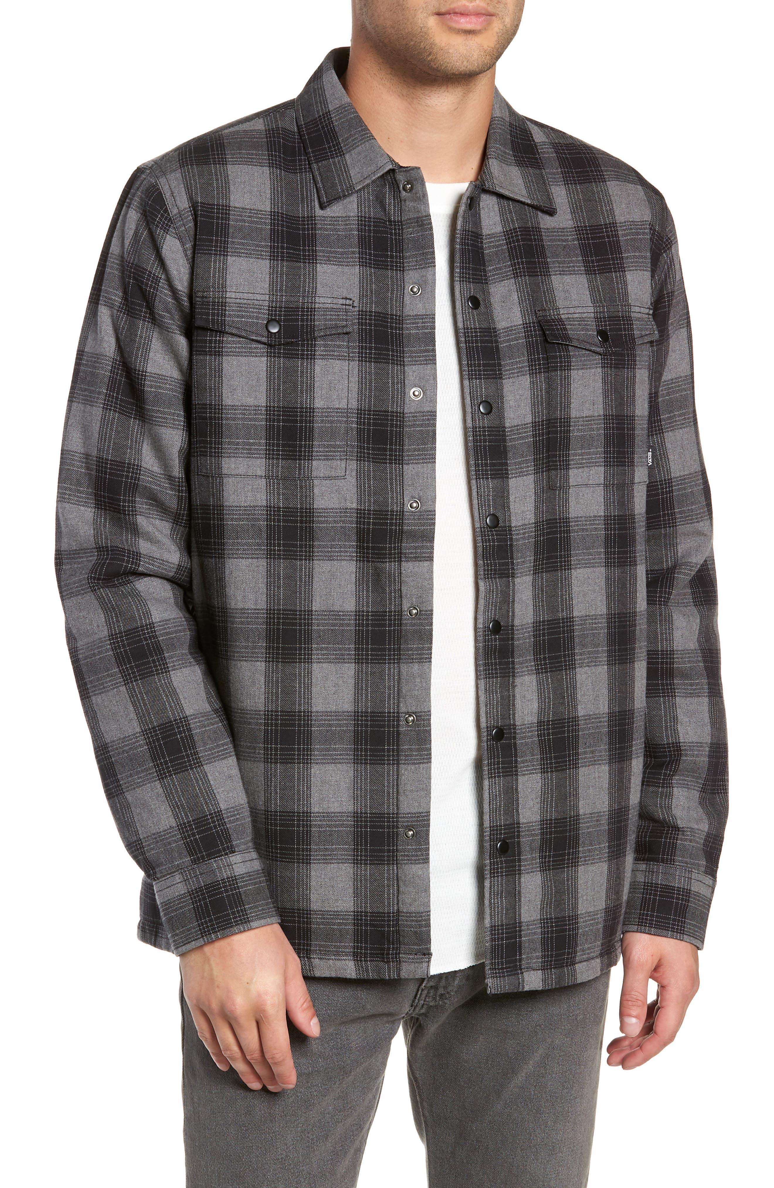 VANS,                             Parnell Plaid Shirt Jacket,                             Main thumbnail 1, color,                             GRAVEL HEATHER