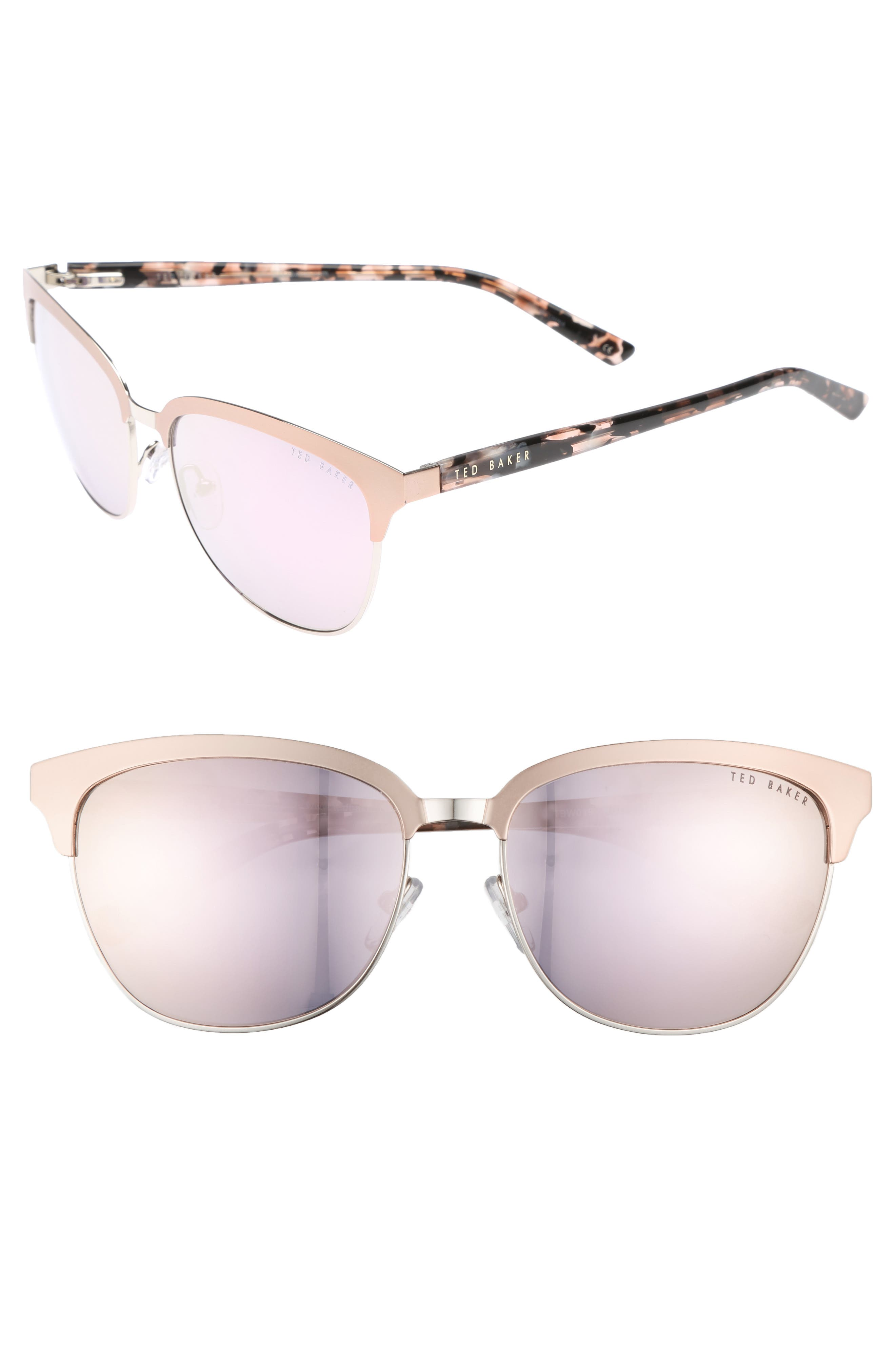 57mm Mirrored Sunglasses,                         Main,                         color, ROSE GOLD