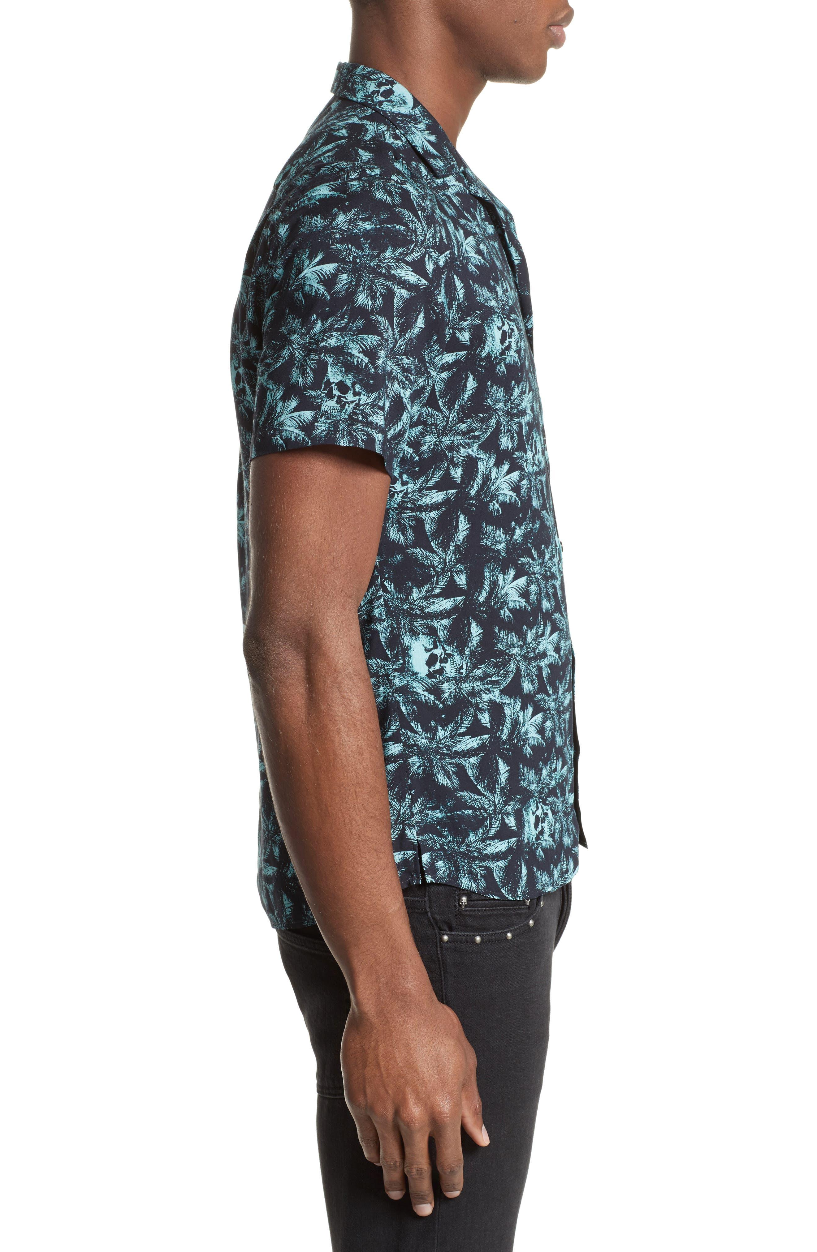 Hawaiian Collar Print Shirt,                             Alternate thumbnail 4, color,                             400