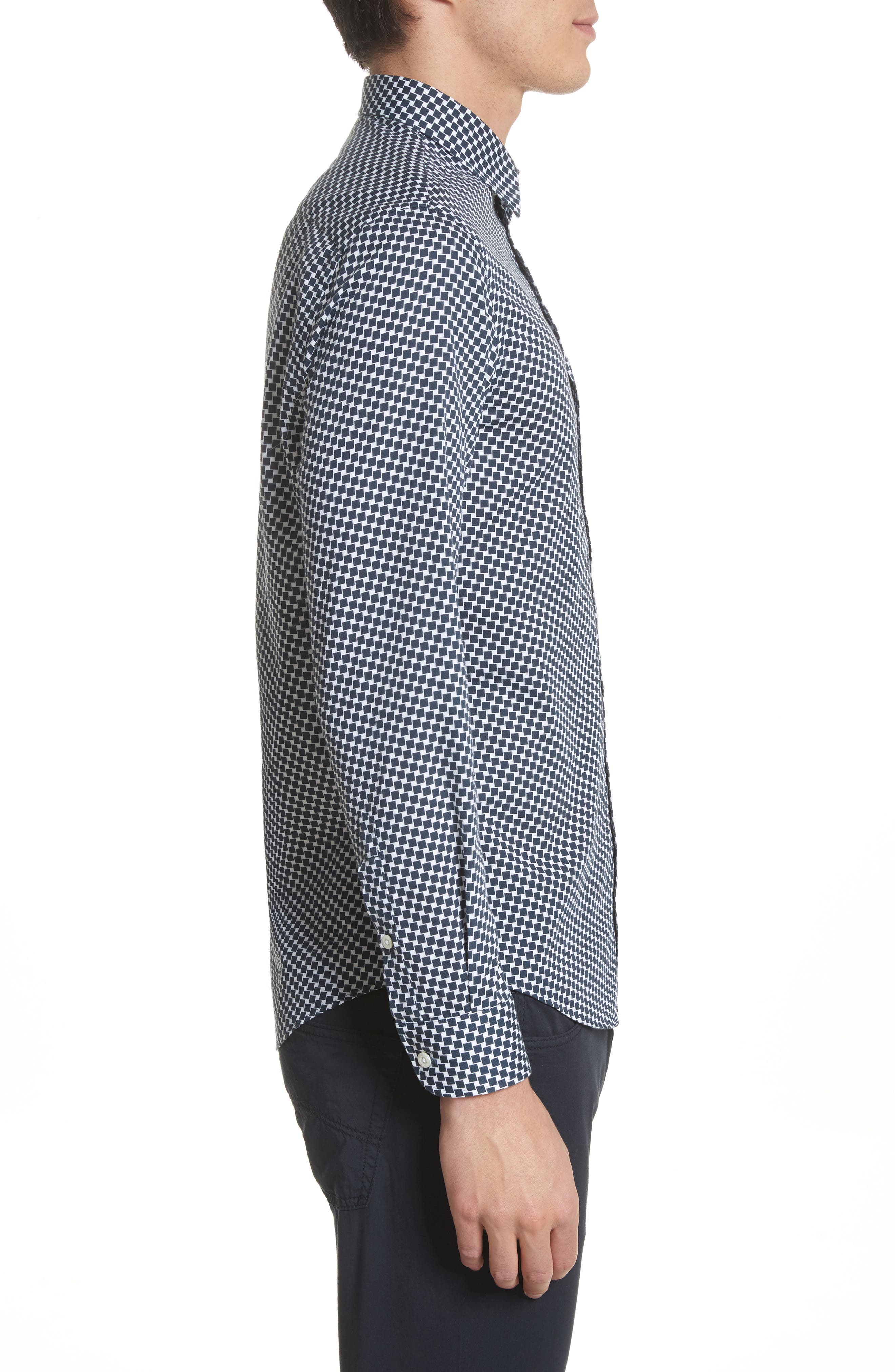 Rectangle Print Regular Fit Sport Shirt,                             Alternate thumbnail 4, color,