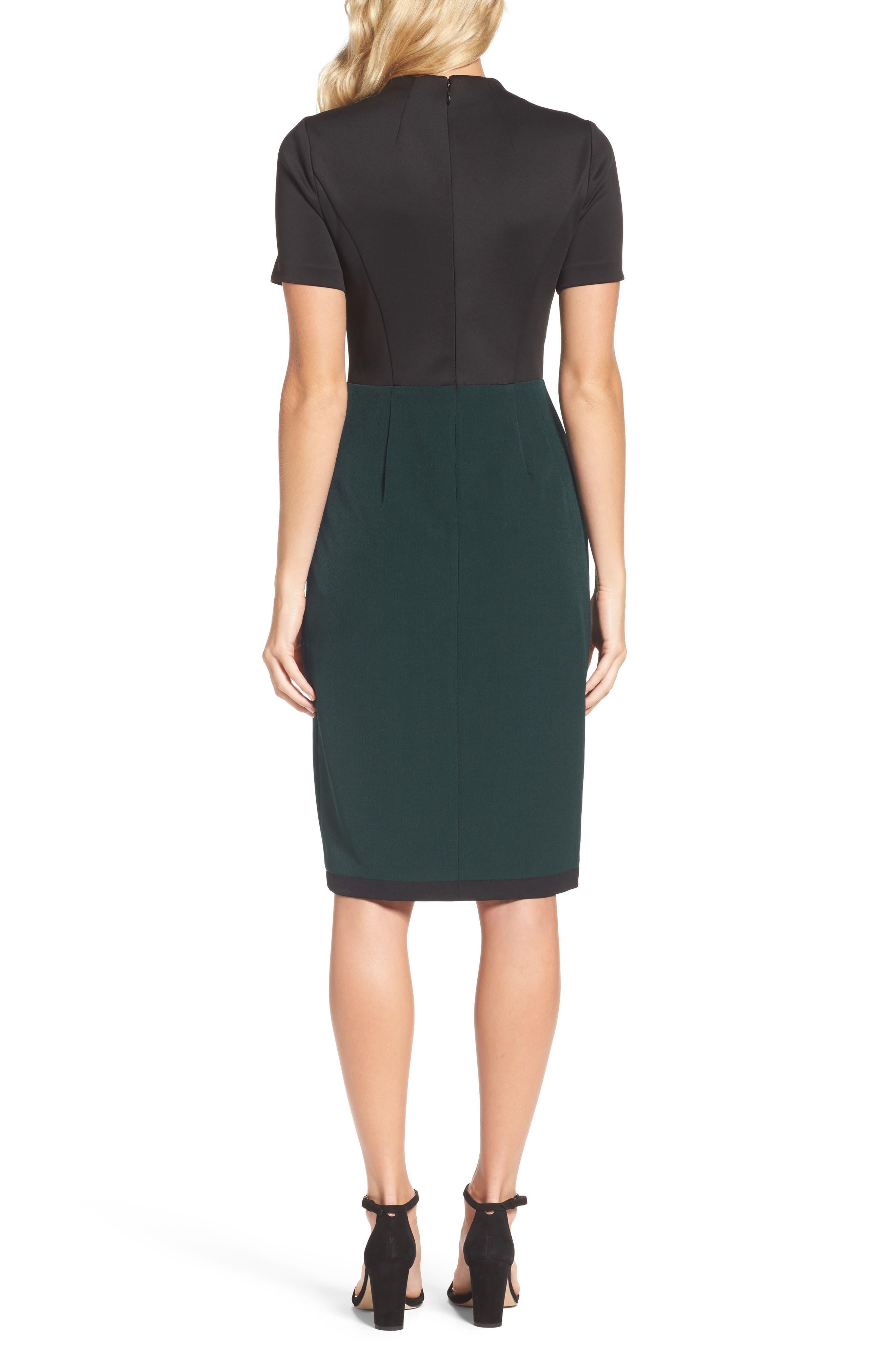 Scuba & Crepe Sheath Dress,                             Alternate thumbnail 3, color,