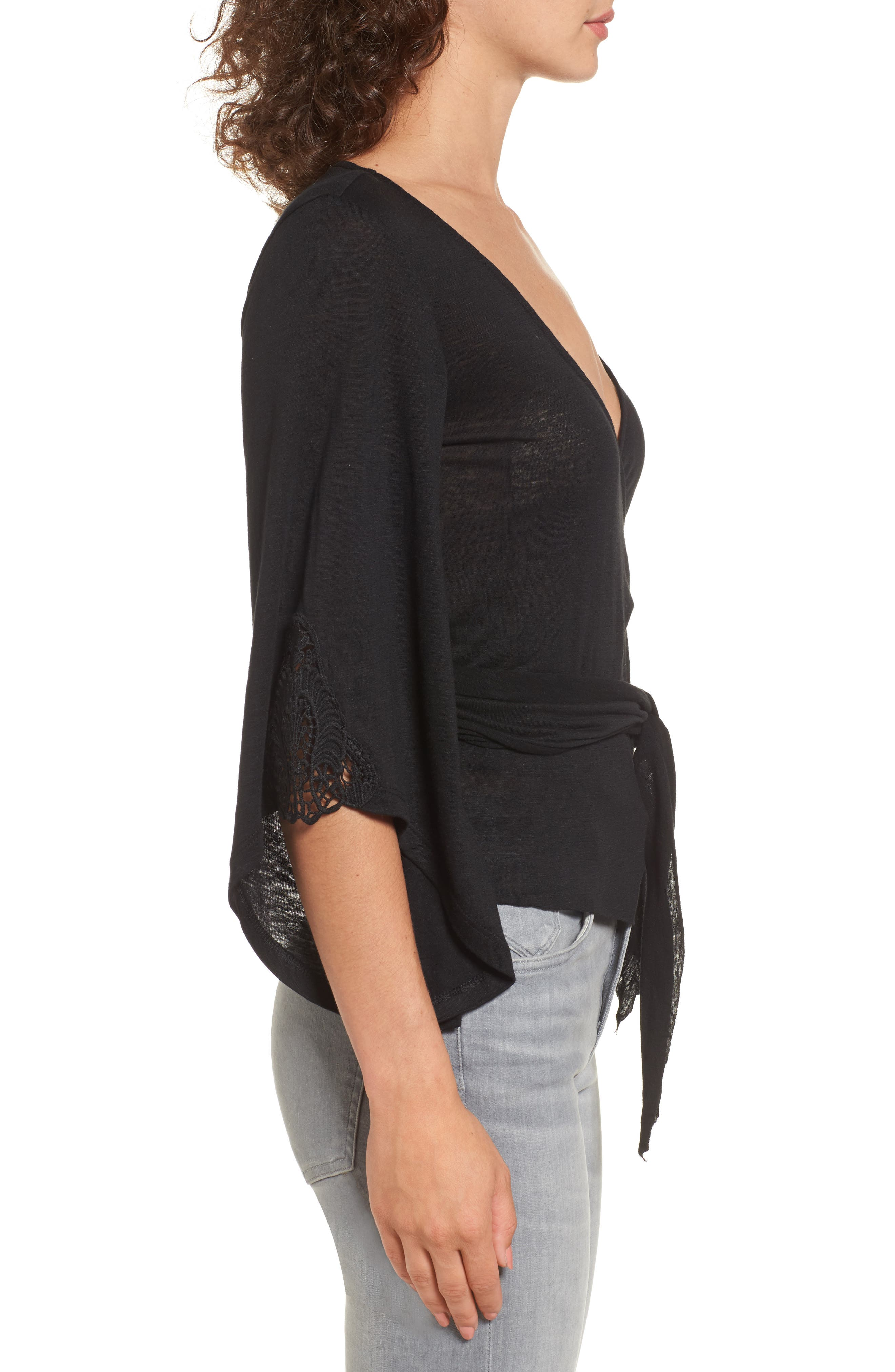 Bell Sleeve Wrap Top,                             Alternate thumbnail 3, color,                             001