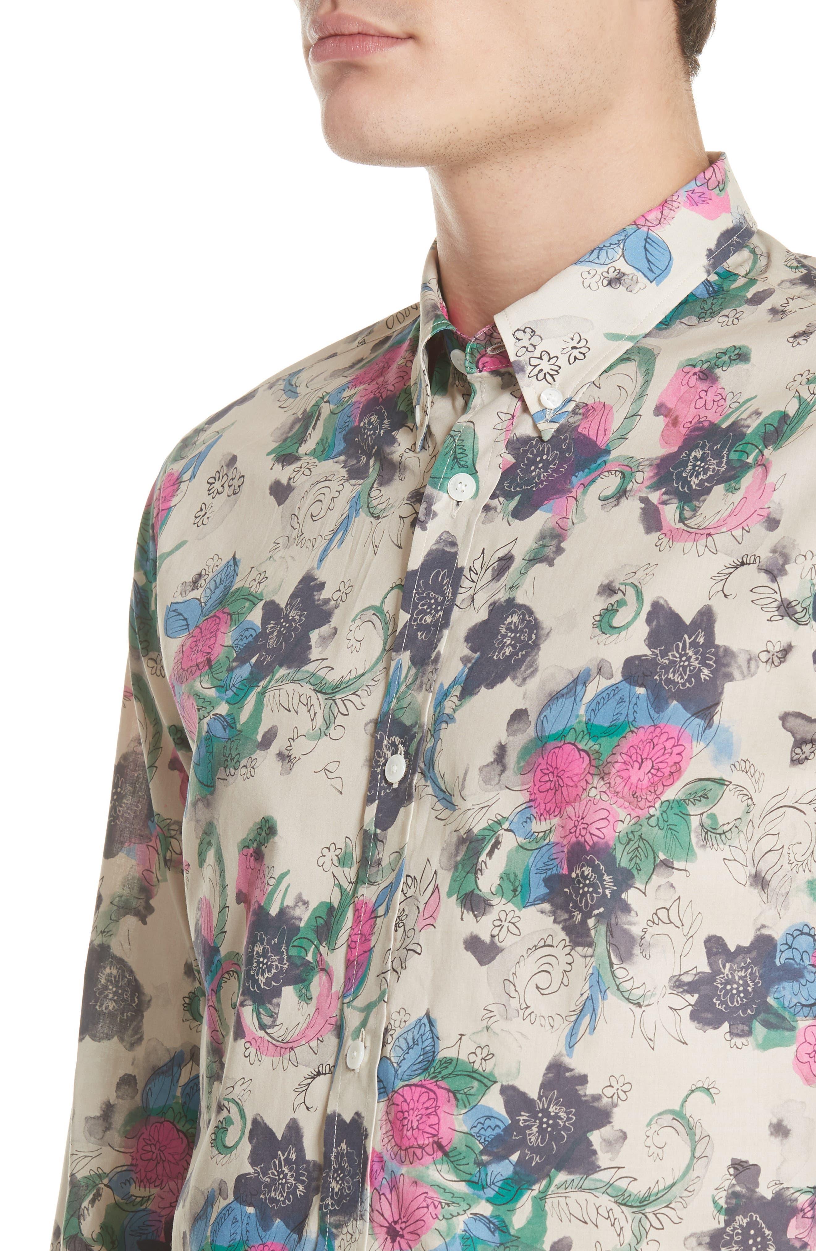 Strenton Floral Print Shirt,                             Alternate thumbnail 4, color,                             250