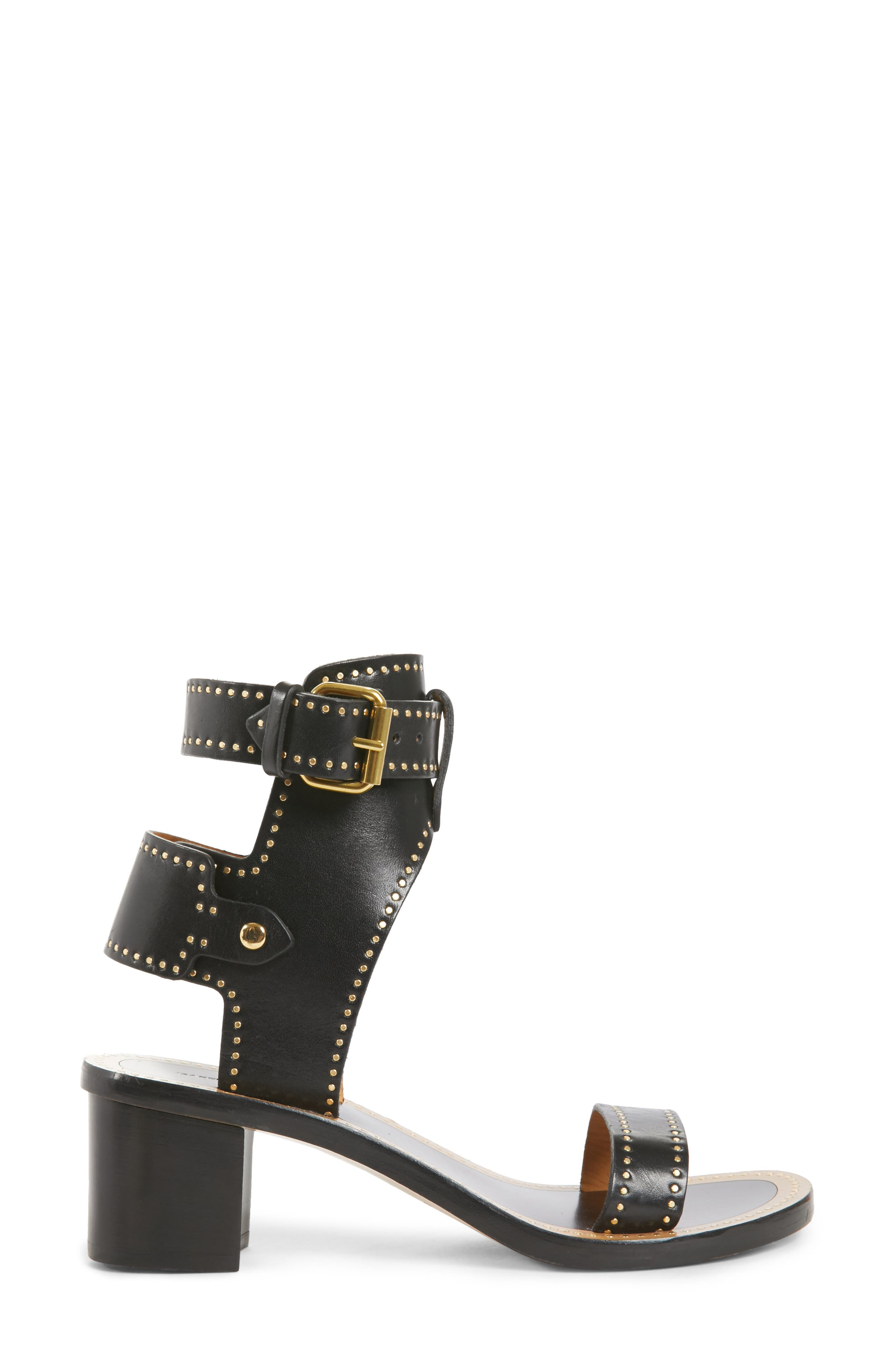 Jaeryn Studded Ankle Strap Sandal,                             Alternate thumbnail 3, color,                             BLACK LEATHER