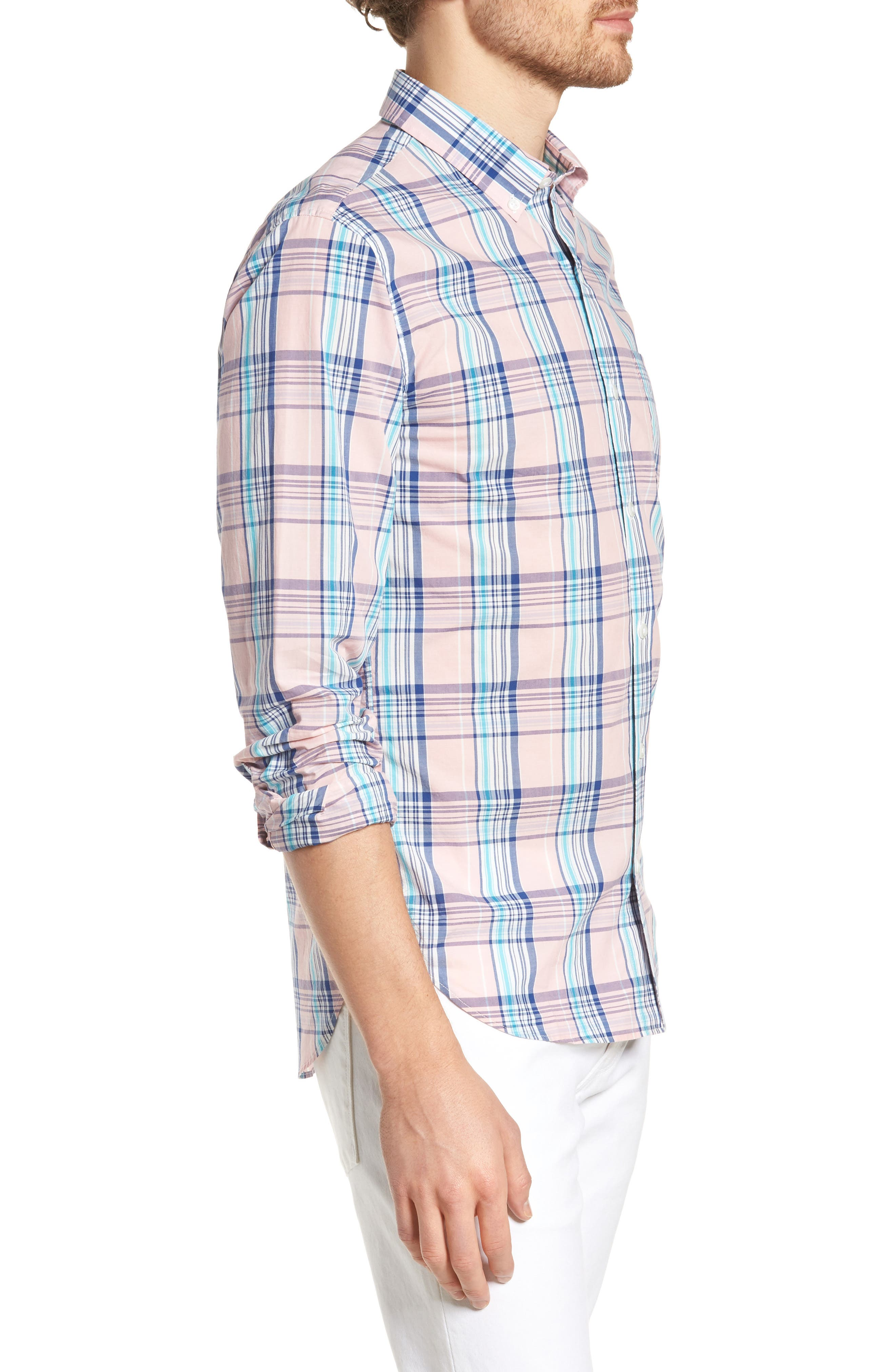 Slim Fit Summerweight Plaid Sport Shirt,                             Alternate thumbnail 3, color,                             650