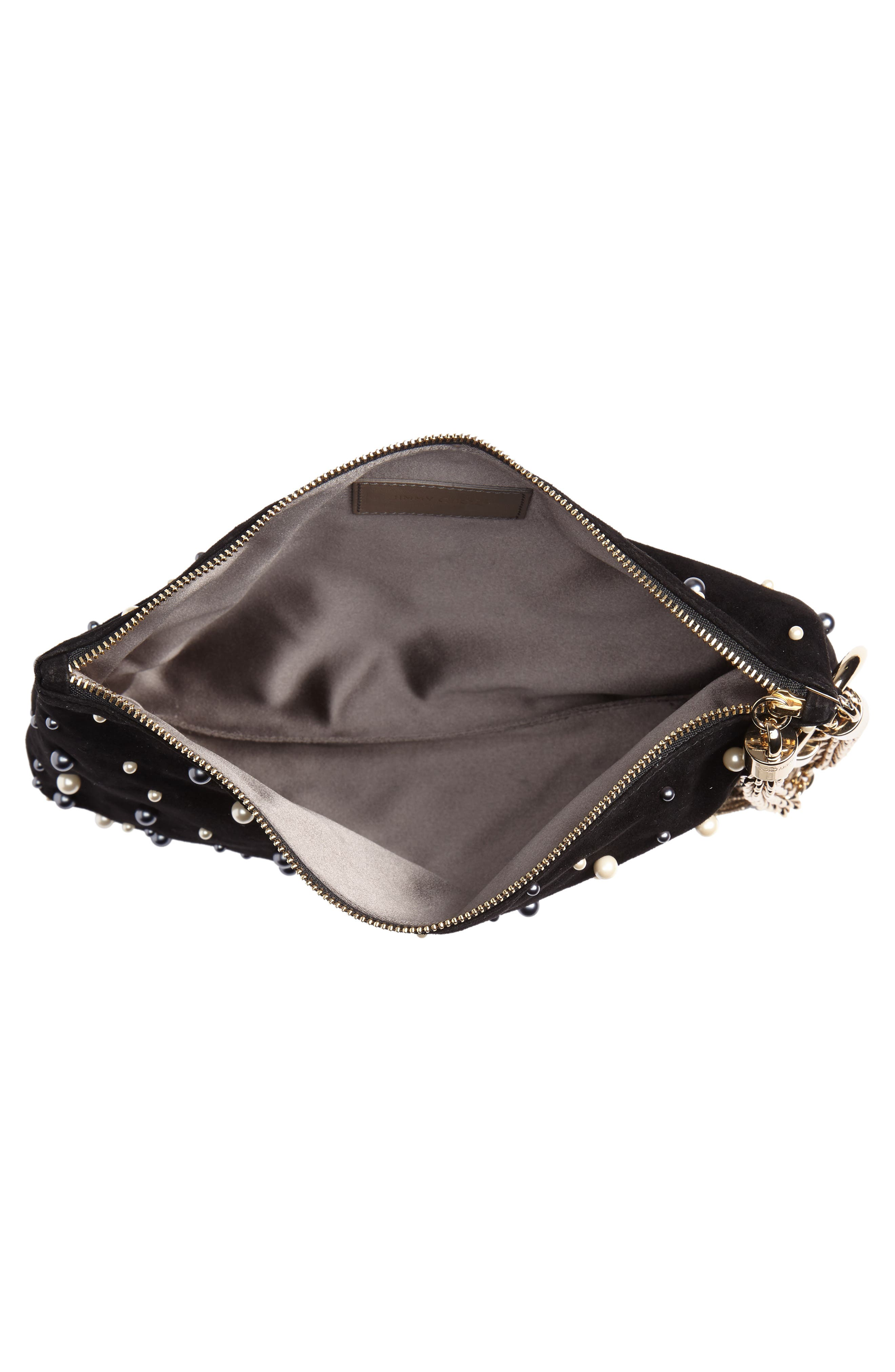 Callie Imitation Pearl Embellished Suede Clutch,                             Alternate thumbnail 5, color,                             001