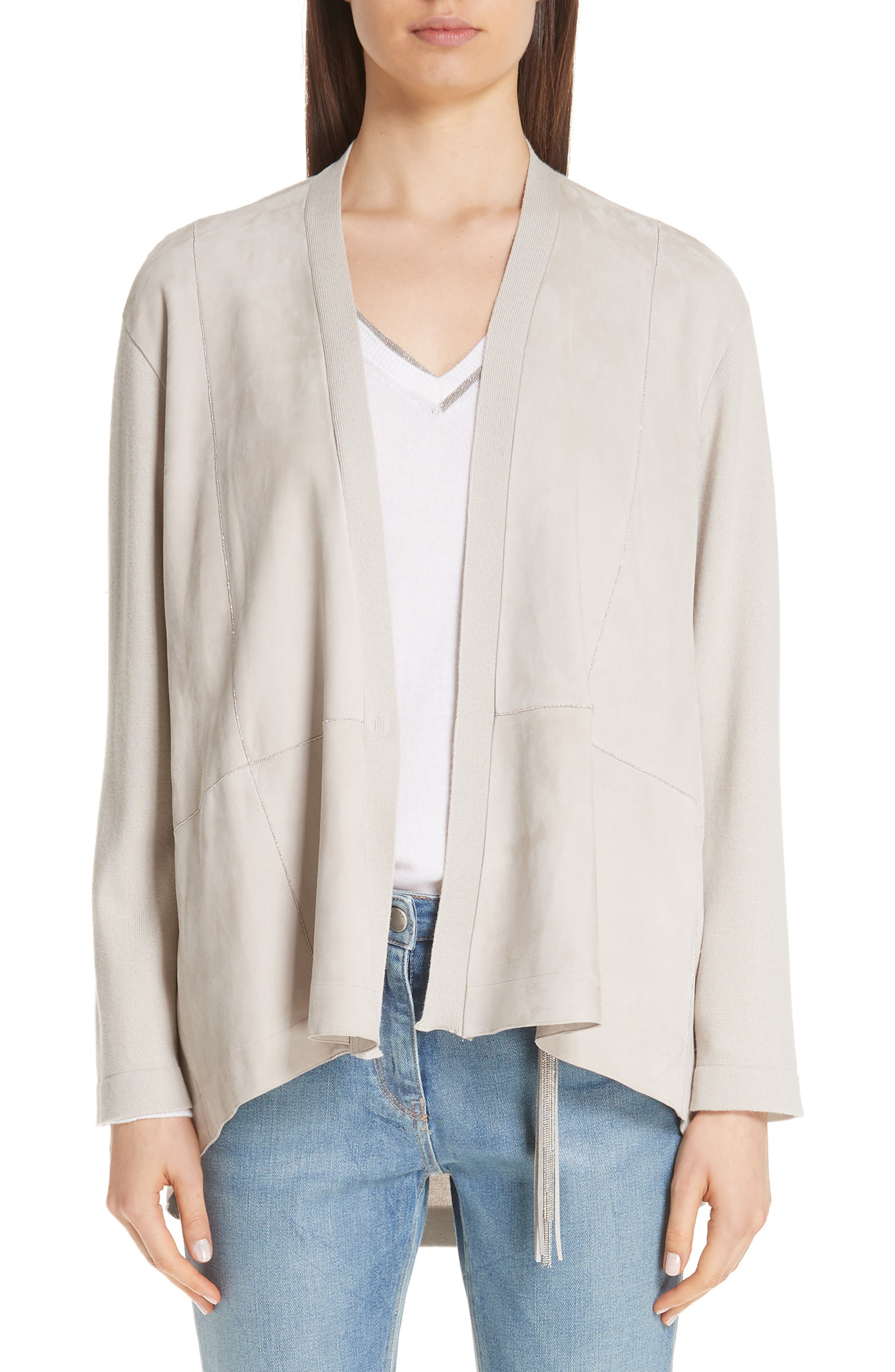 Suede, Cotton & Wool Cardigan,                             Main thumbnail 1, color,                             BEIGE