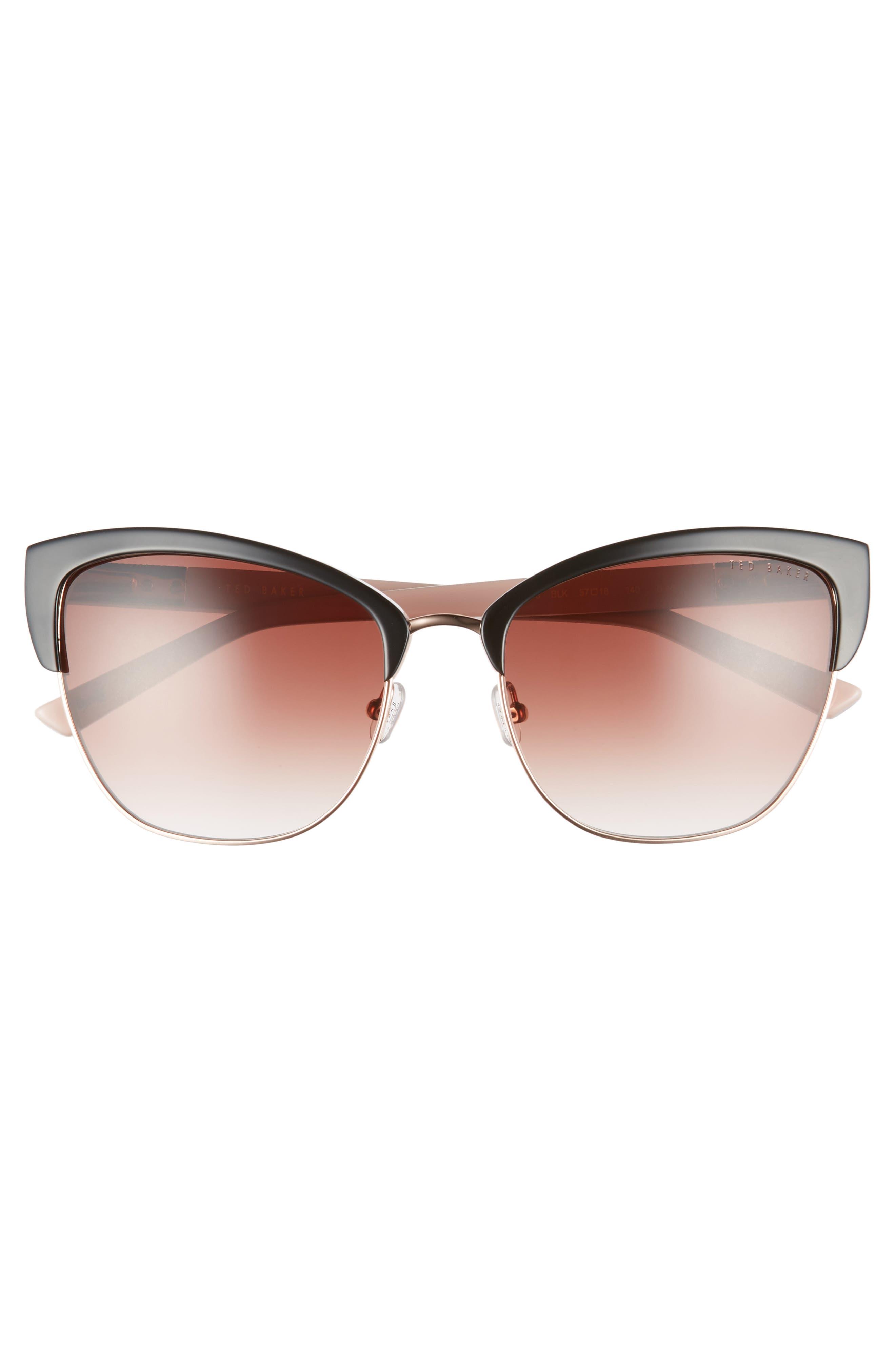 57mm Cat Eye Sunglasses,                             Alternate thumbnail 3, color,                             BLACK