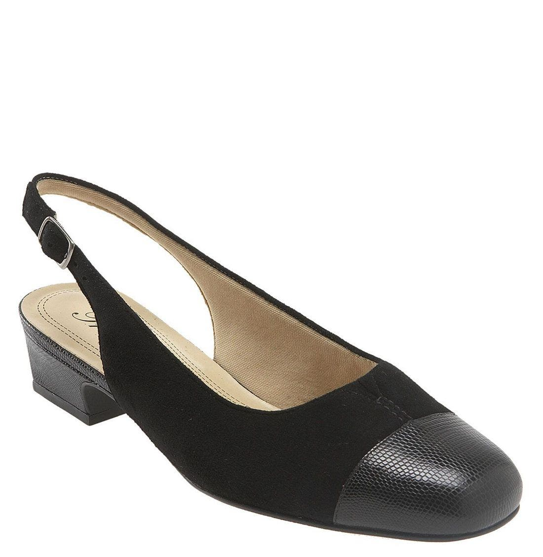 'Dea' Slingback,                         Main,                         color, BLACK LEATHER