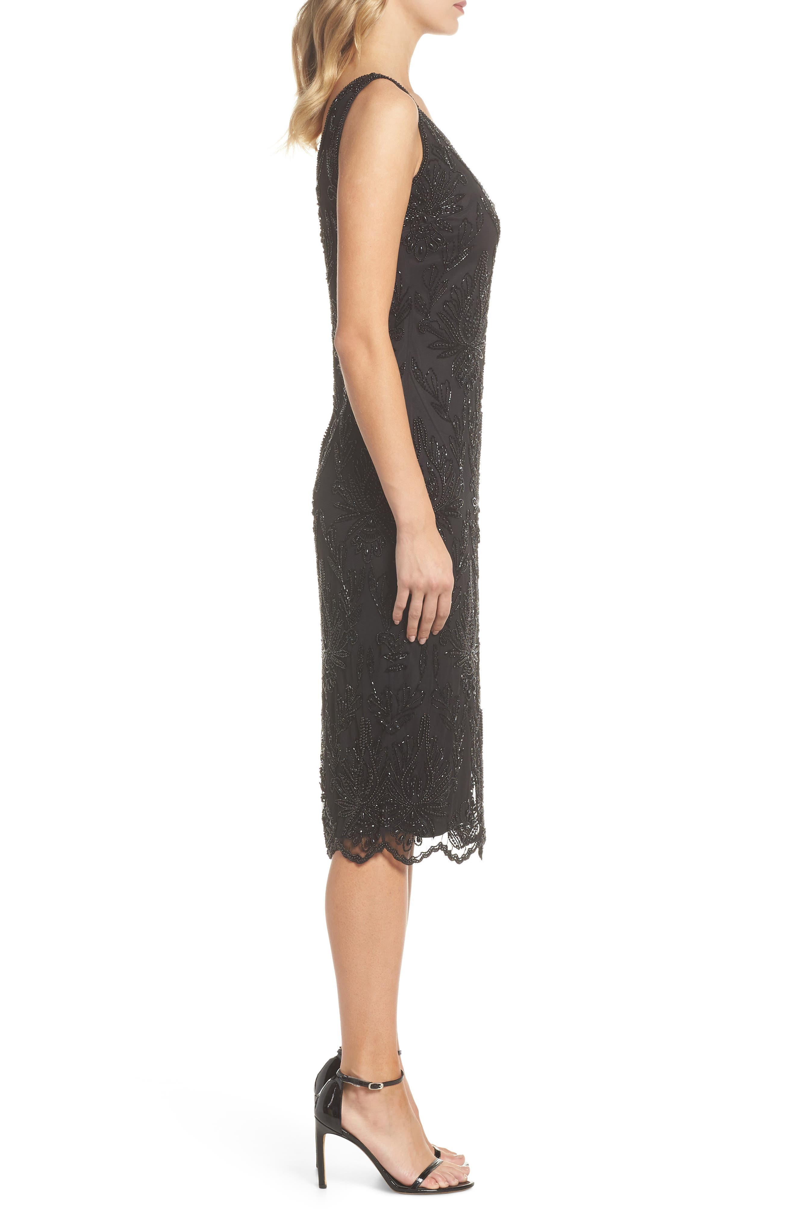 Lace Mid Dress,                             Alternate thumbnail 3, color,                             BLACK