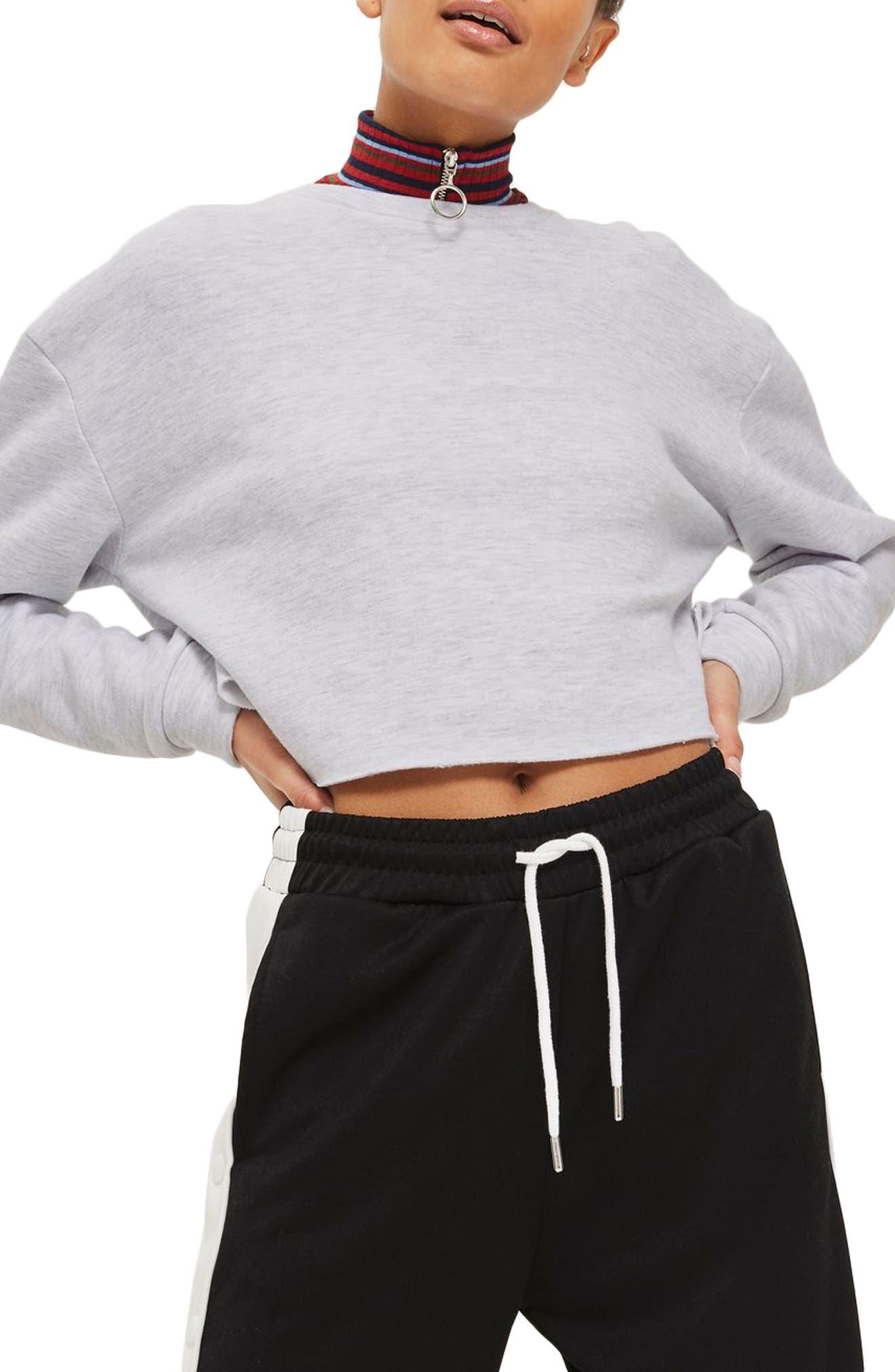 Crop Sweatshirt,                             Main thumbnail 1, color,                             GREY MARL