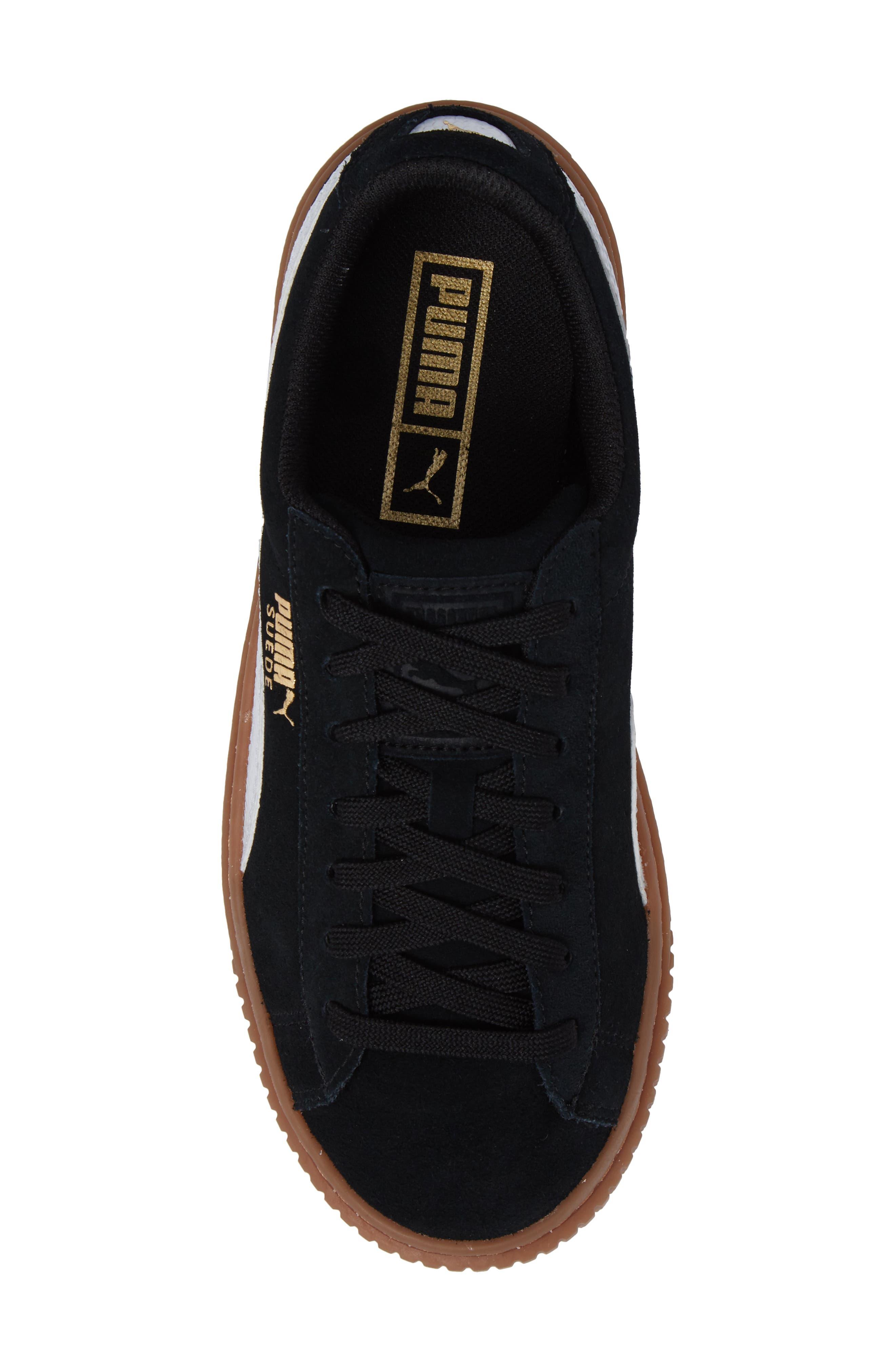Suede Platform Jr Sneaker,                             Alternate thumbnail 5, color,                             001