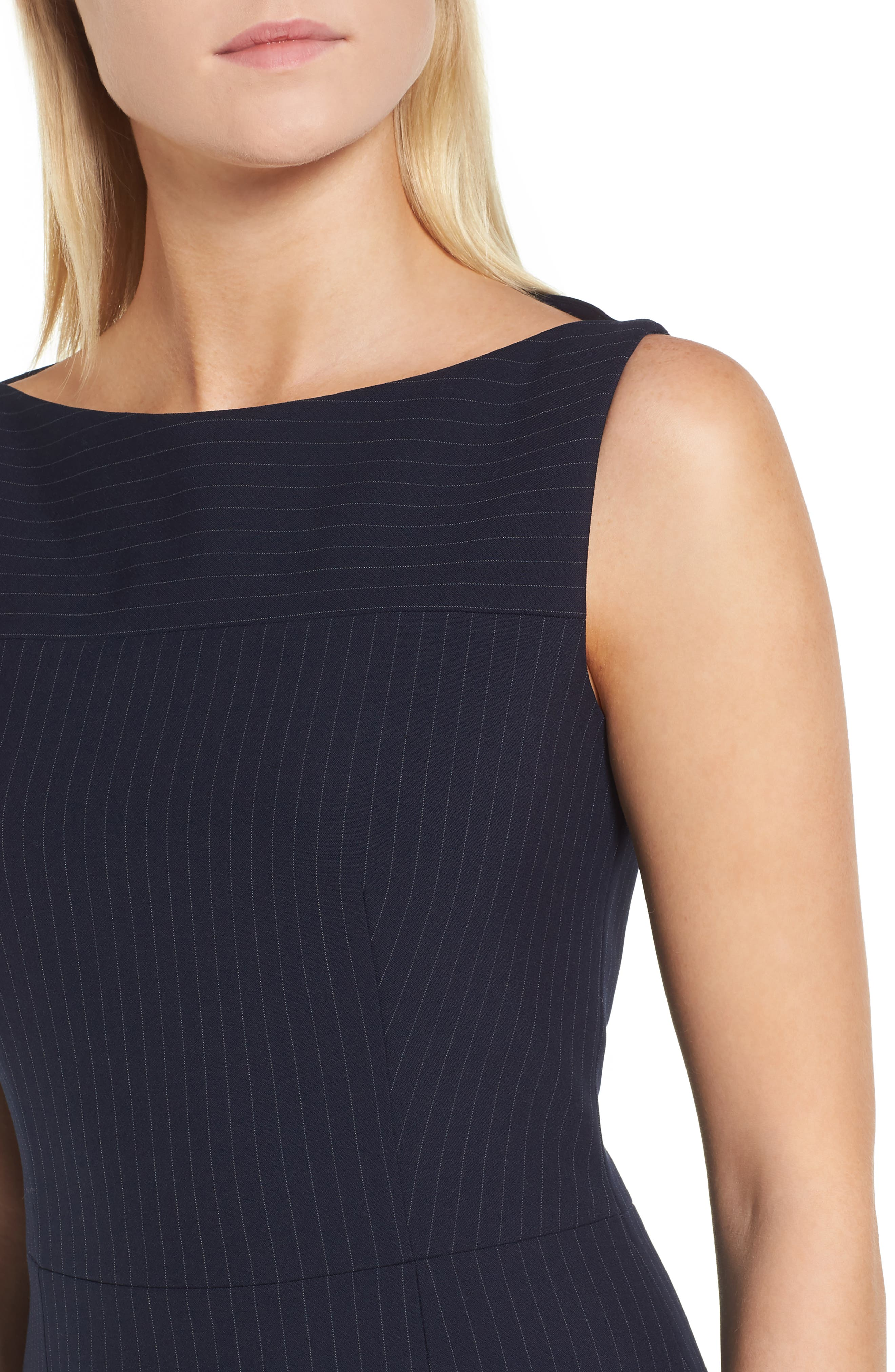 Denaka Pinstripe Sheath Dress,                             Alternate thumbnail 4, color,