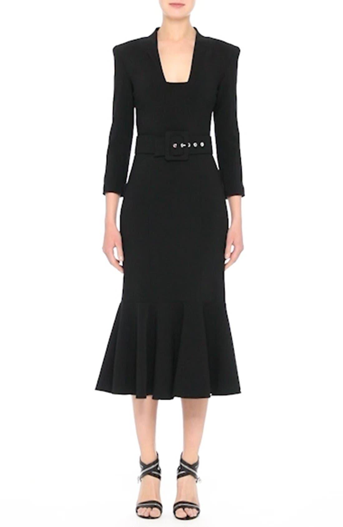 Stretch Pebble Crepe Bolero Sheath Dress,                             Alternate thumbnail 7, color,