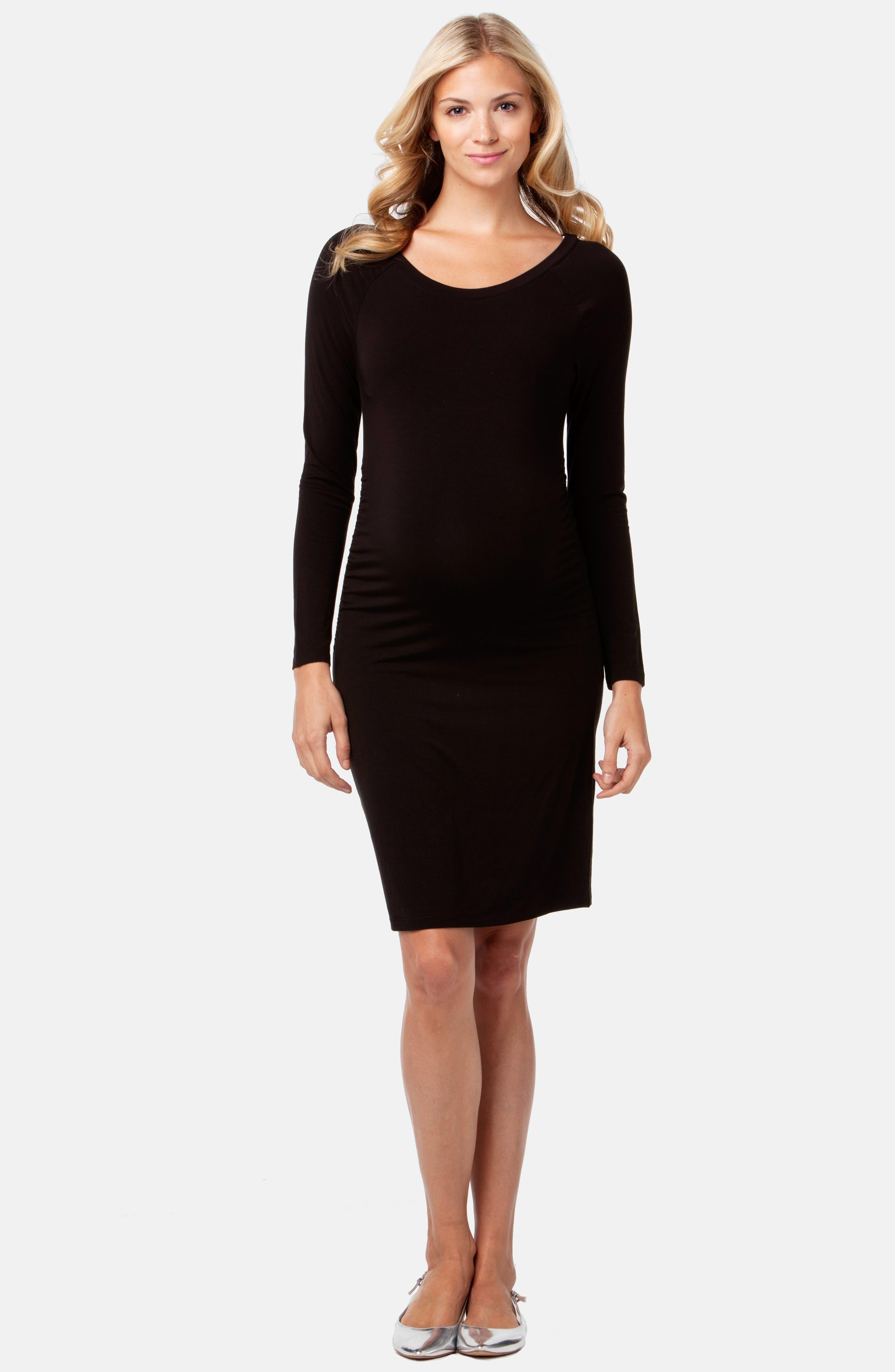 Maternity Sheath Dress,                             Alternate thumbnail 3, color,                             BLACK