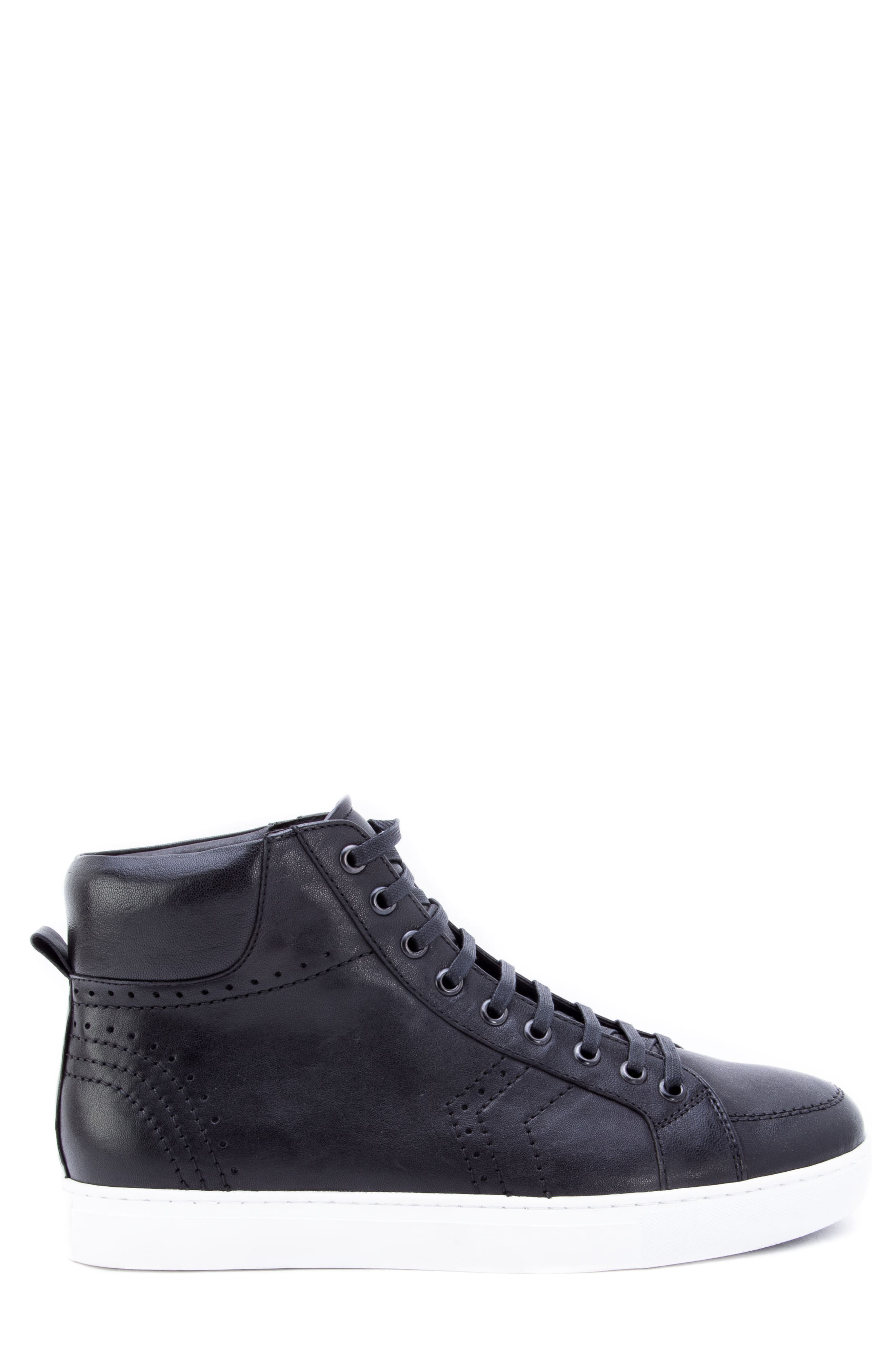 Uglow Perforated High Top Sneaker,                             Alternate thumbnail 3, color,                             BLACK LEATHER
